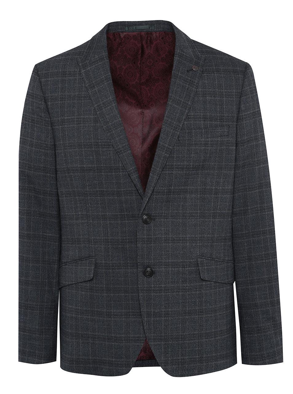 Tmavě šedé kostkované oblekové slim sako Burton Menswear London