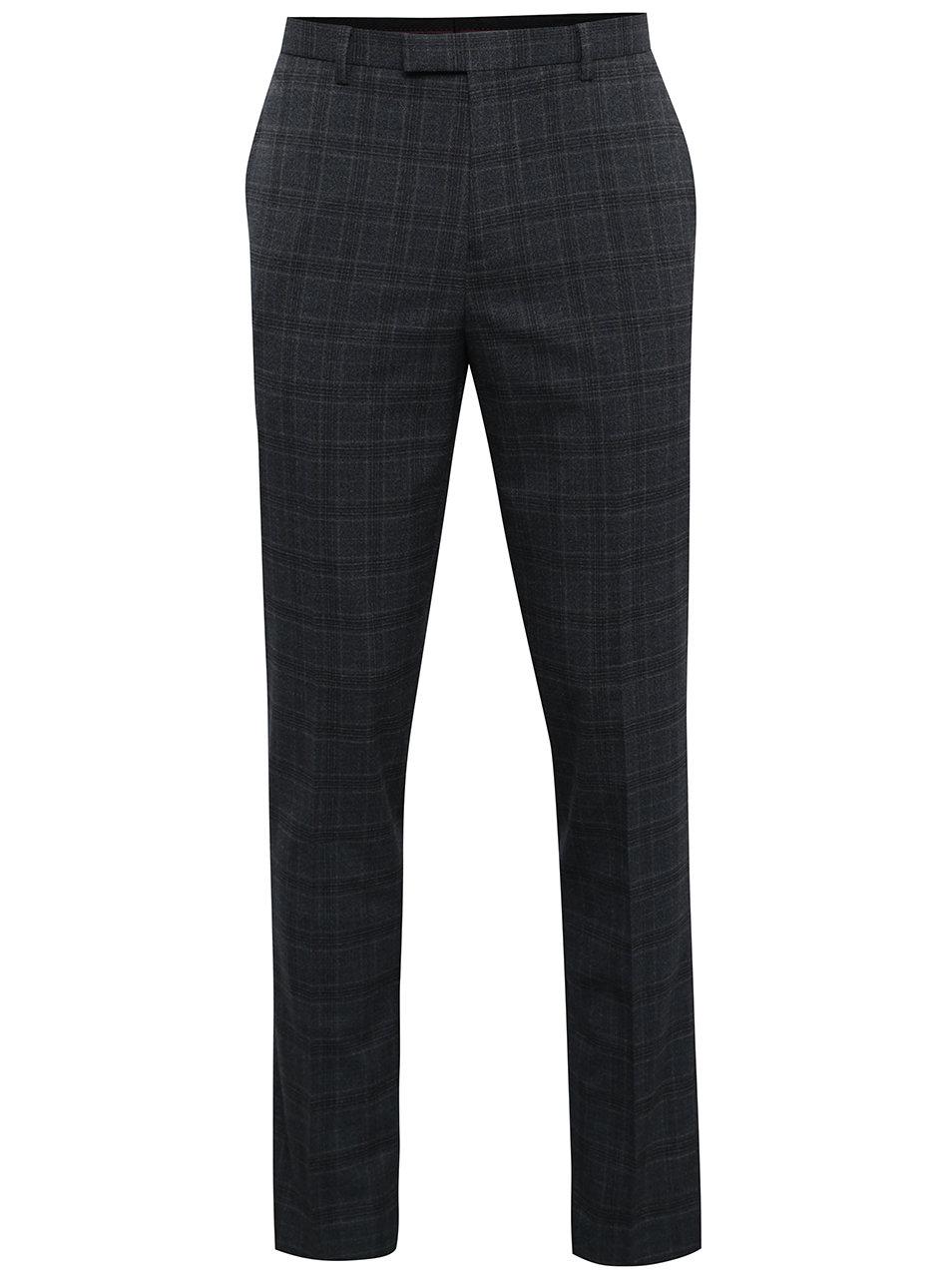 Tmavě šedé kostkované oblekové slim kalhoty Burton Menswear London