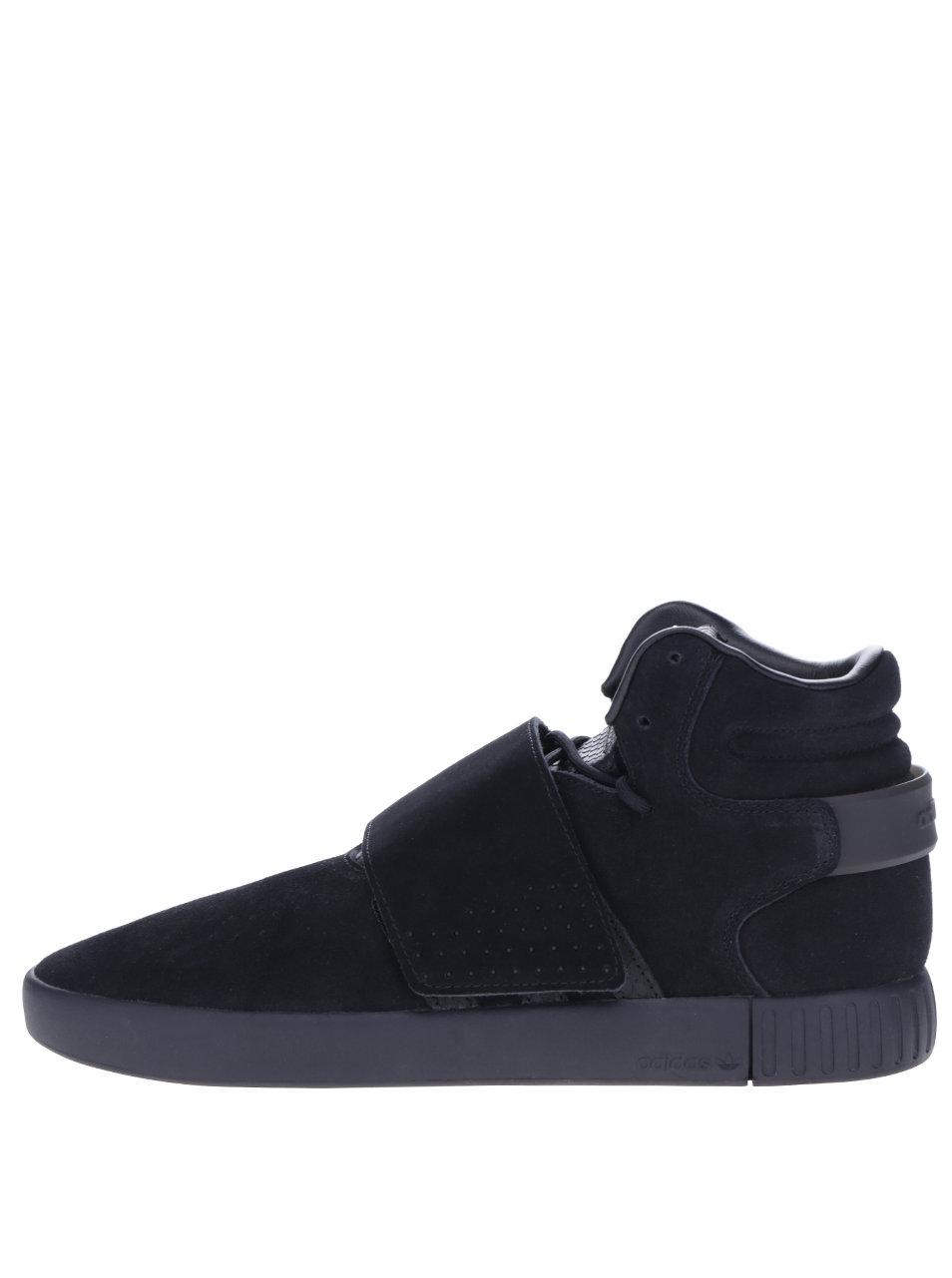 Čierne pánske členkové semišové tenisky adidas Originals Tubular Invader ... 30e4638235c