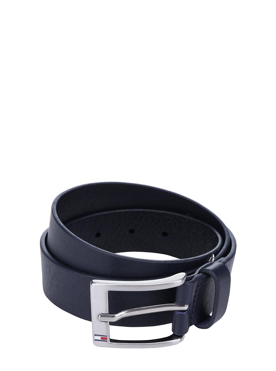 Tmavě modrý pánský kožený pásek Tommy Hilfiger New Aly
