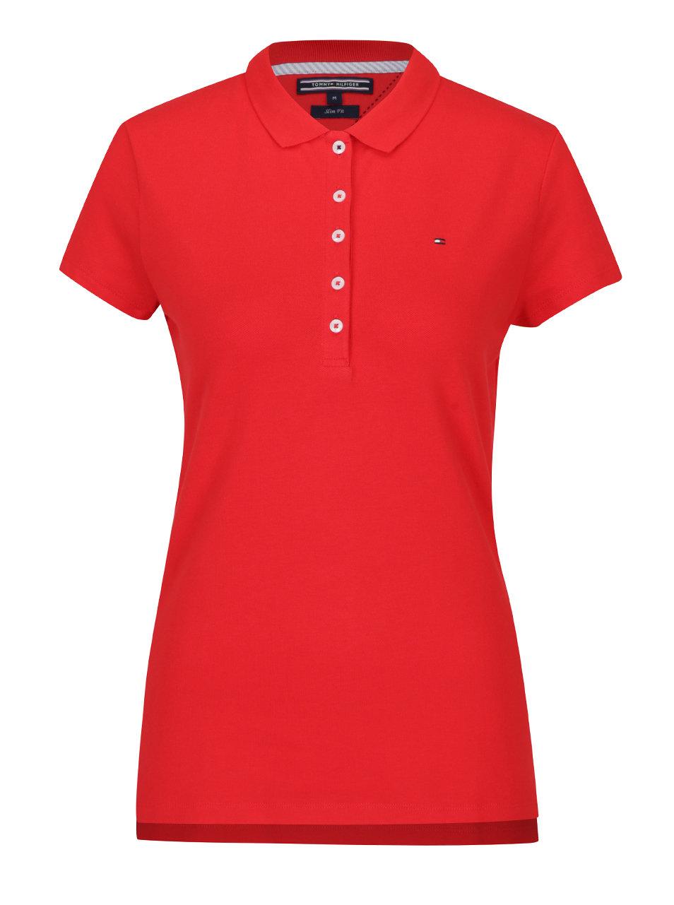 Červené dámske polo tričko Tommy Hilfiger New Chiara ... 03fabef9dd
