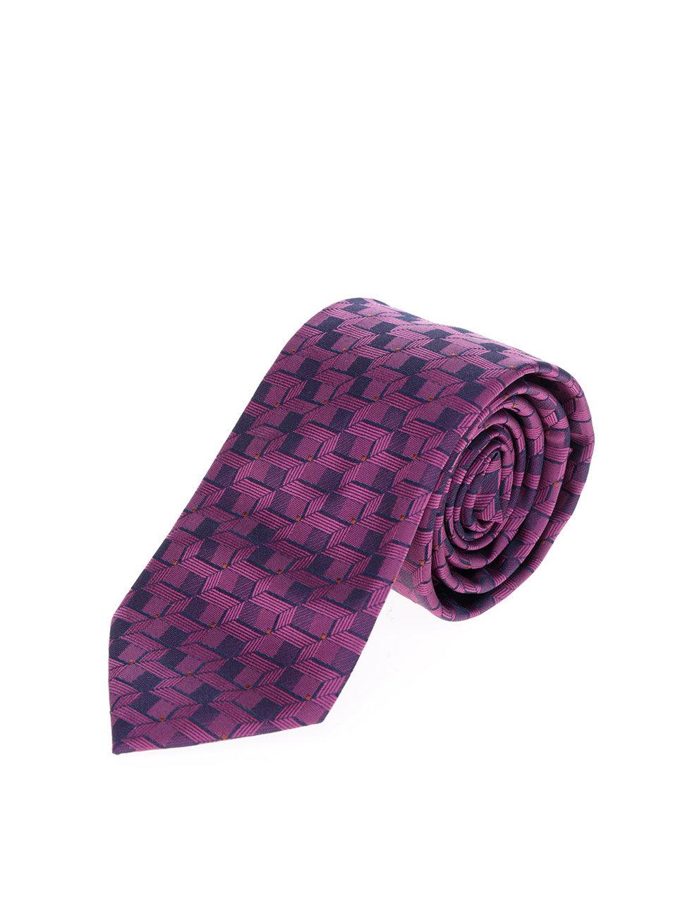 Tmavě fialová vzorovaná kravata Burton Menswear London ... e5eb021d03
