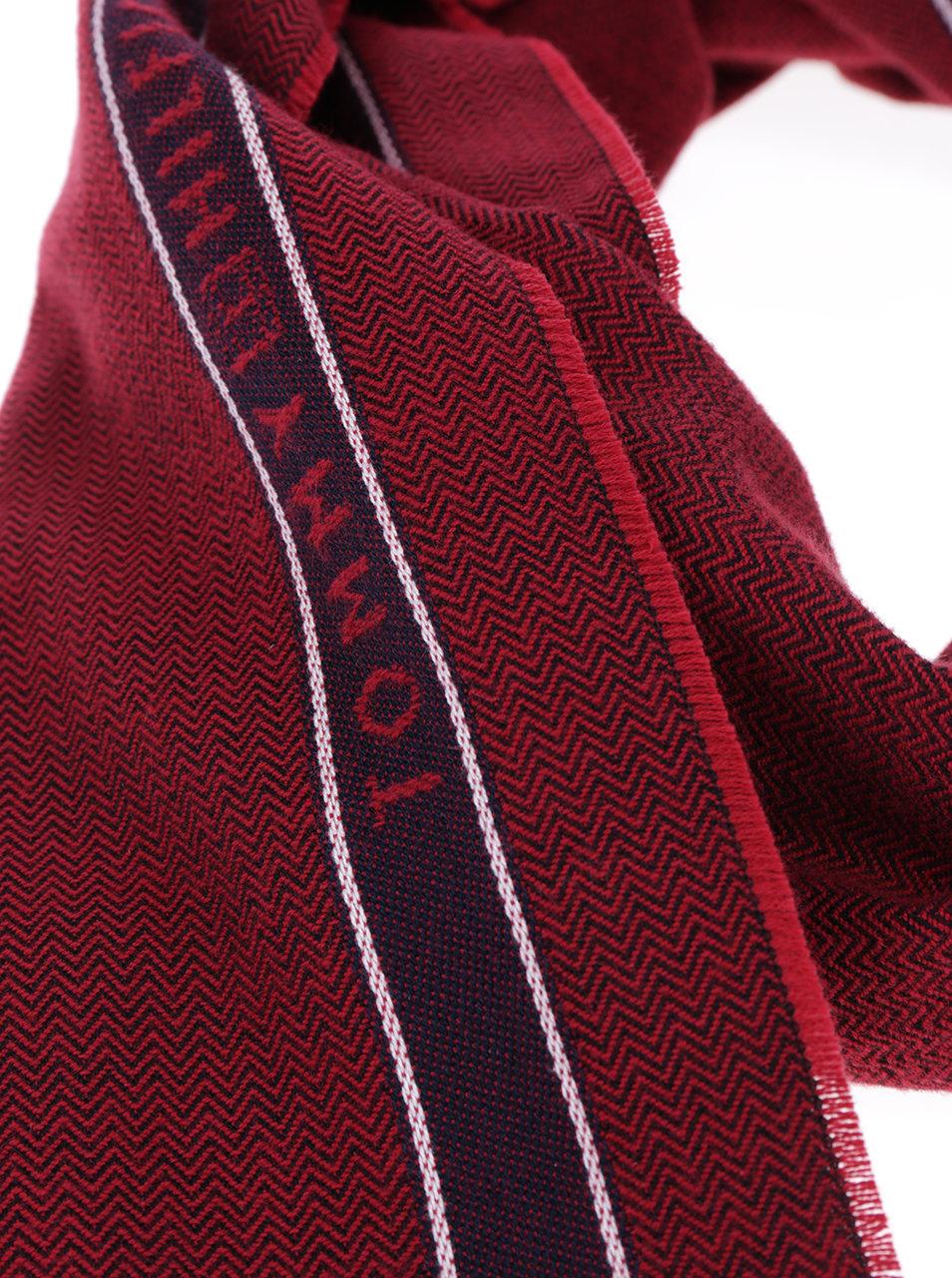 81f1833a79d Červená pánská šála Tommy Hilfiger Selvedge Herringbone ...