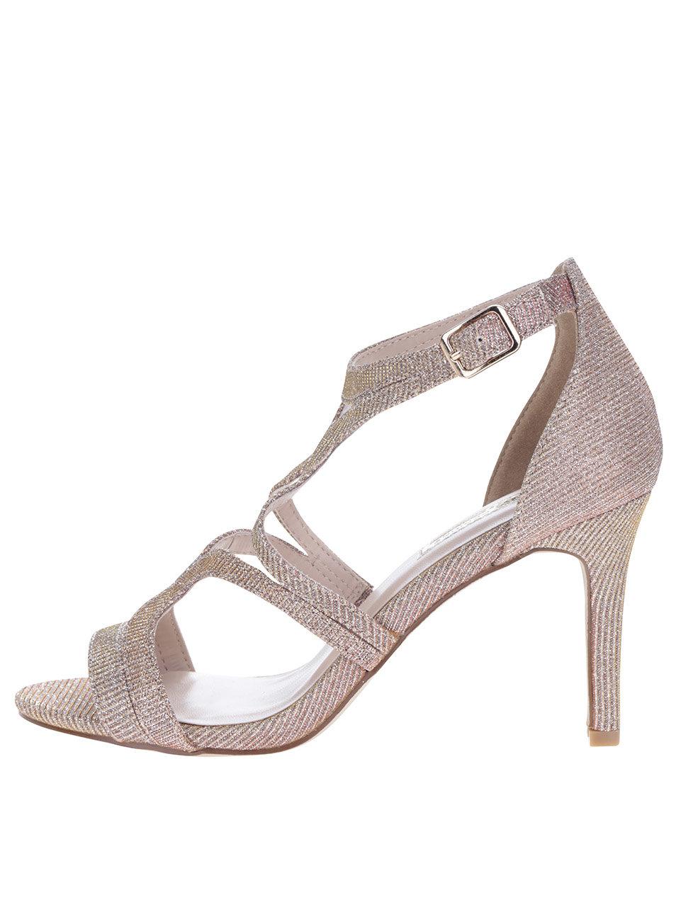 42354611ae49 Metalické sandálky na podpatku ve růžovozlaté barvě Dorothy Perkins ...