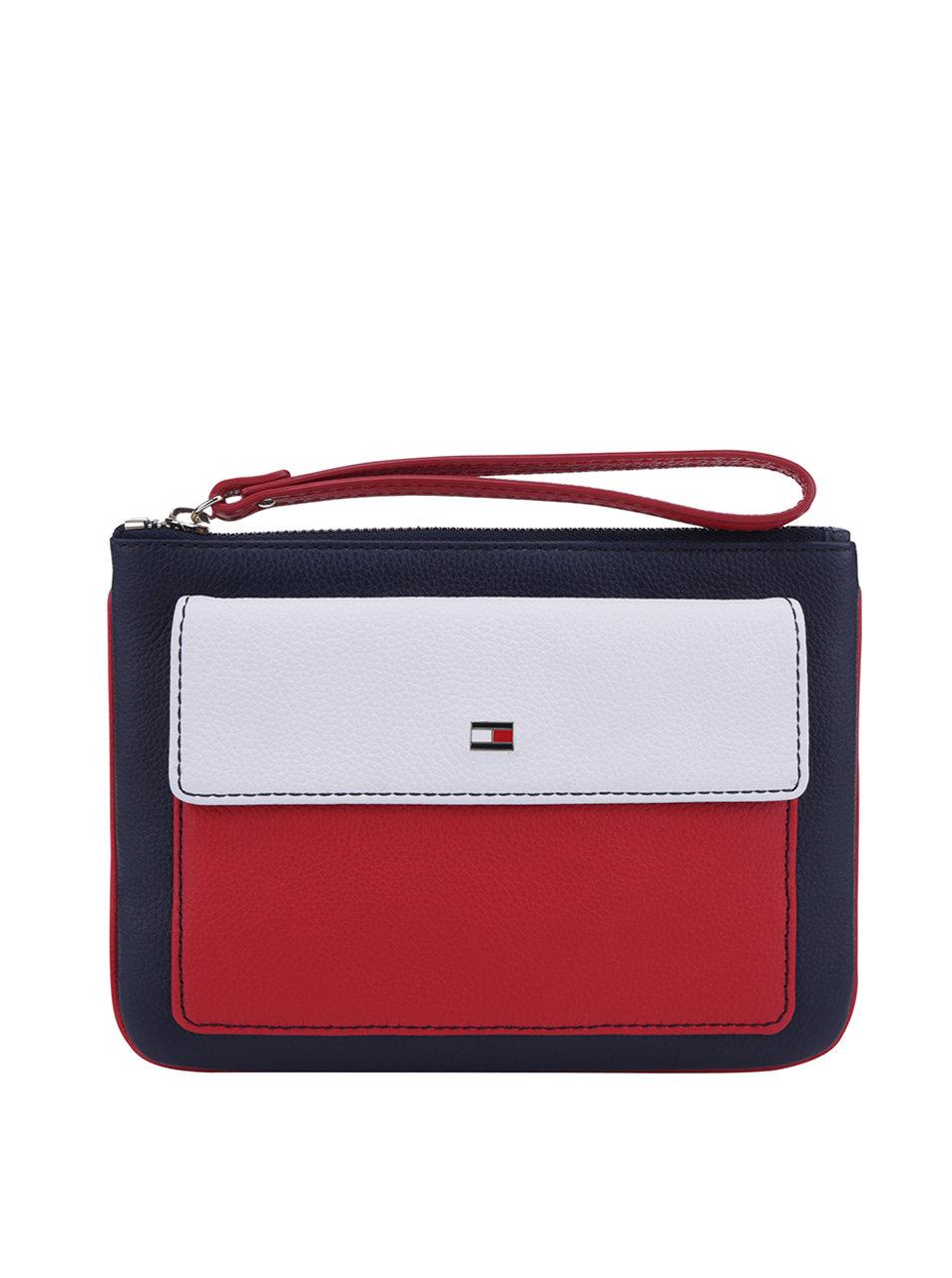 Červeno-modrá kožená listová kabelka Tommy Hilfiger Basic ... 880eaed397a