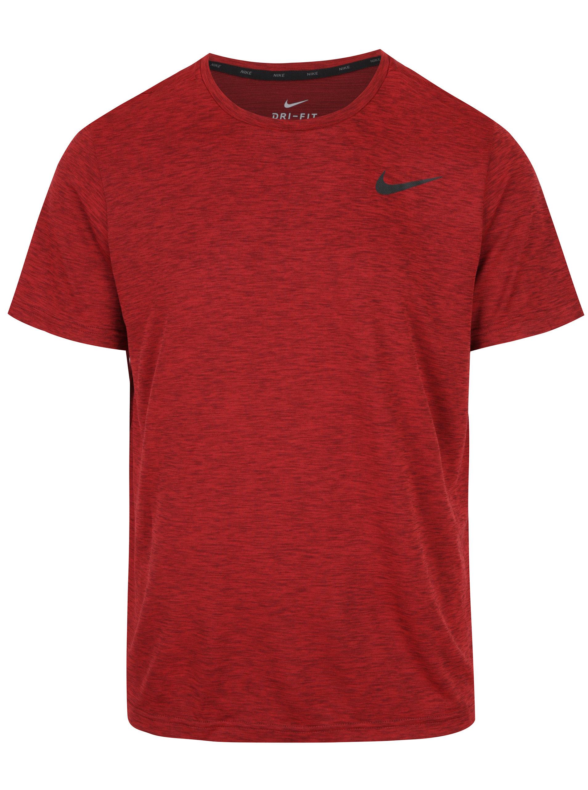 Červené melírované pánske funkčné tričko Nike Breathe ... cea0dddfc05