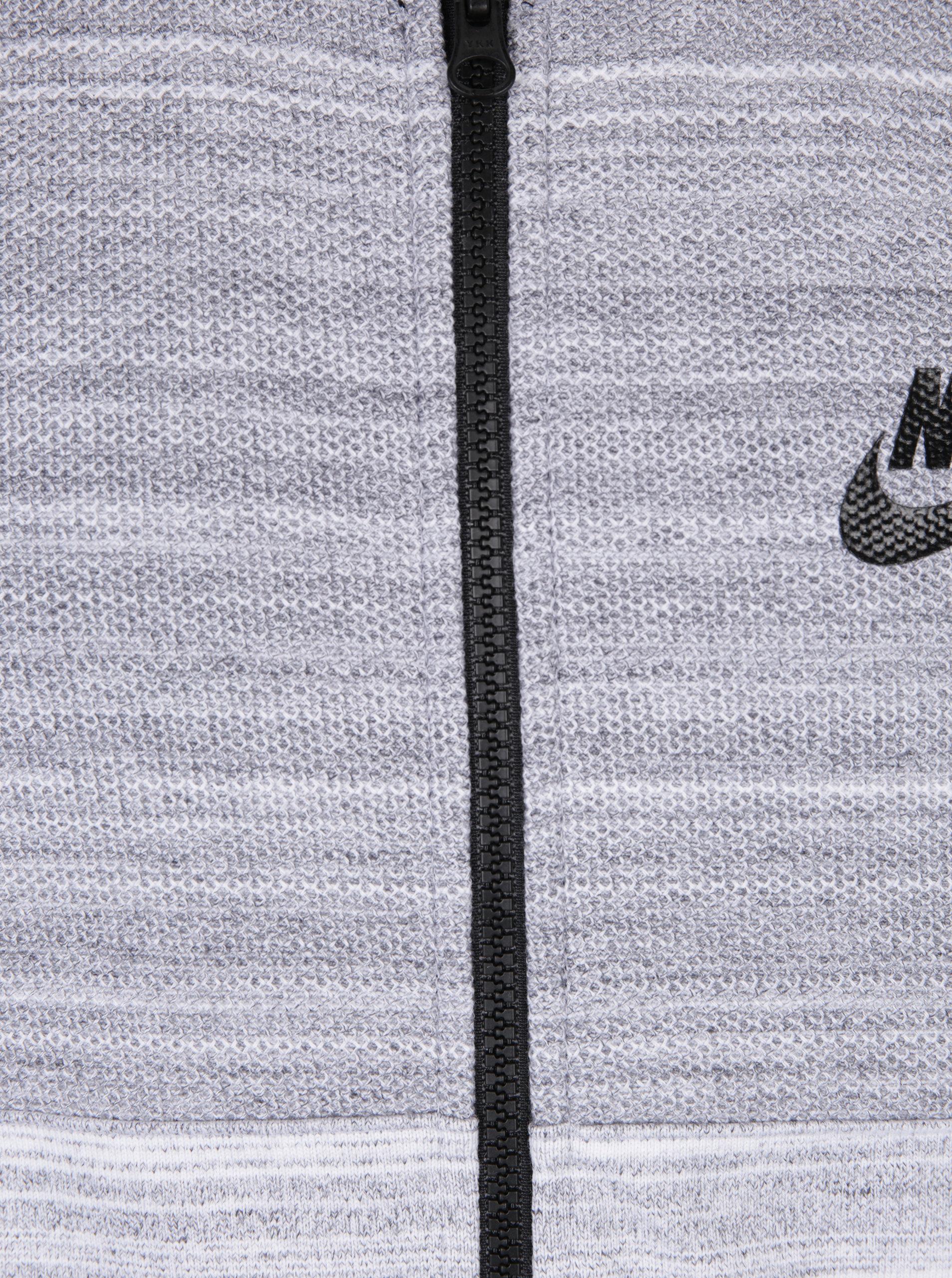 Krémovo-šedá žíhaná pánská mikina s kapucí Nike New ... de9072ba2d6