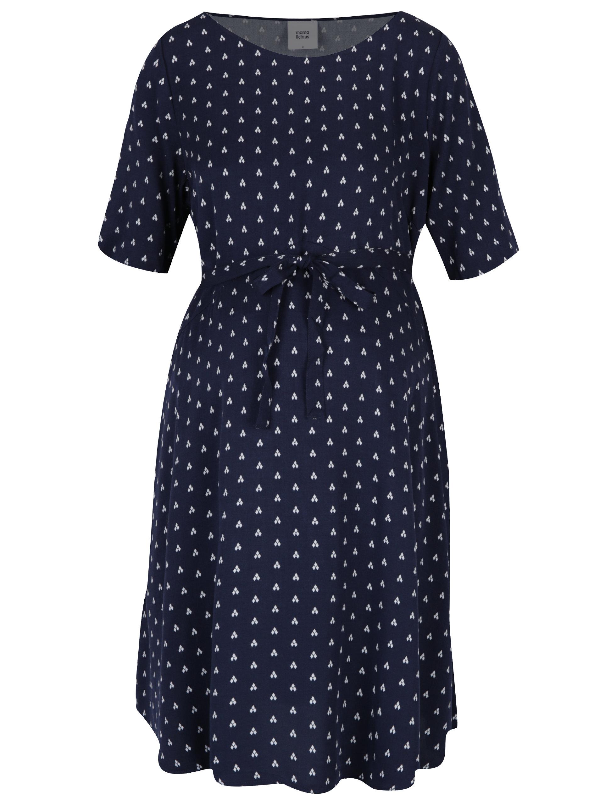 Tmavě modré vzorované těhotenské šaty Mama.licious Shada ... 2daed2409f
