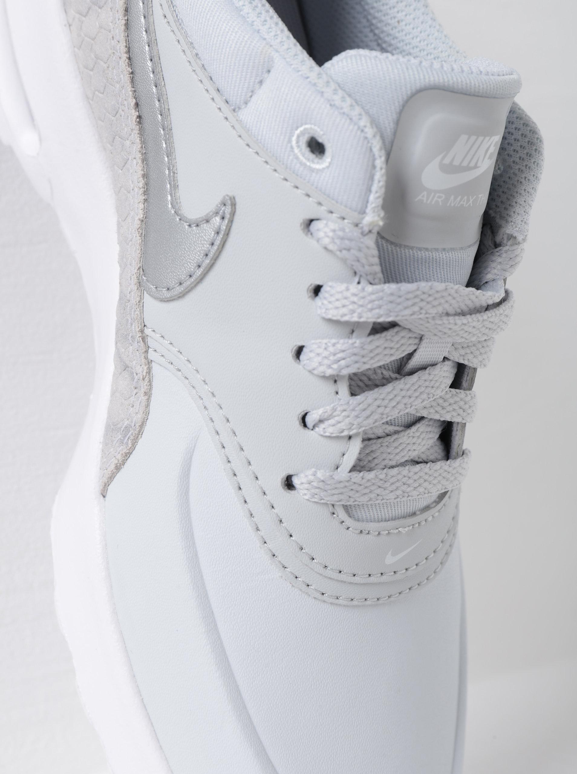 3c095ceb0c6 Světle šedé dámské kožené tenisky se strukturovanými detaily Nike Air Max  ...