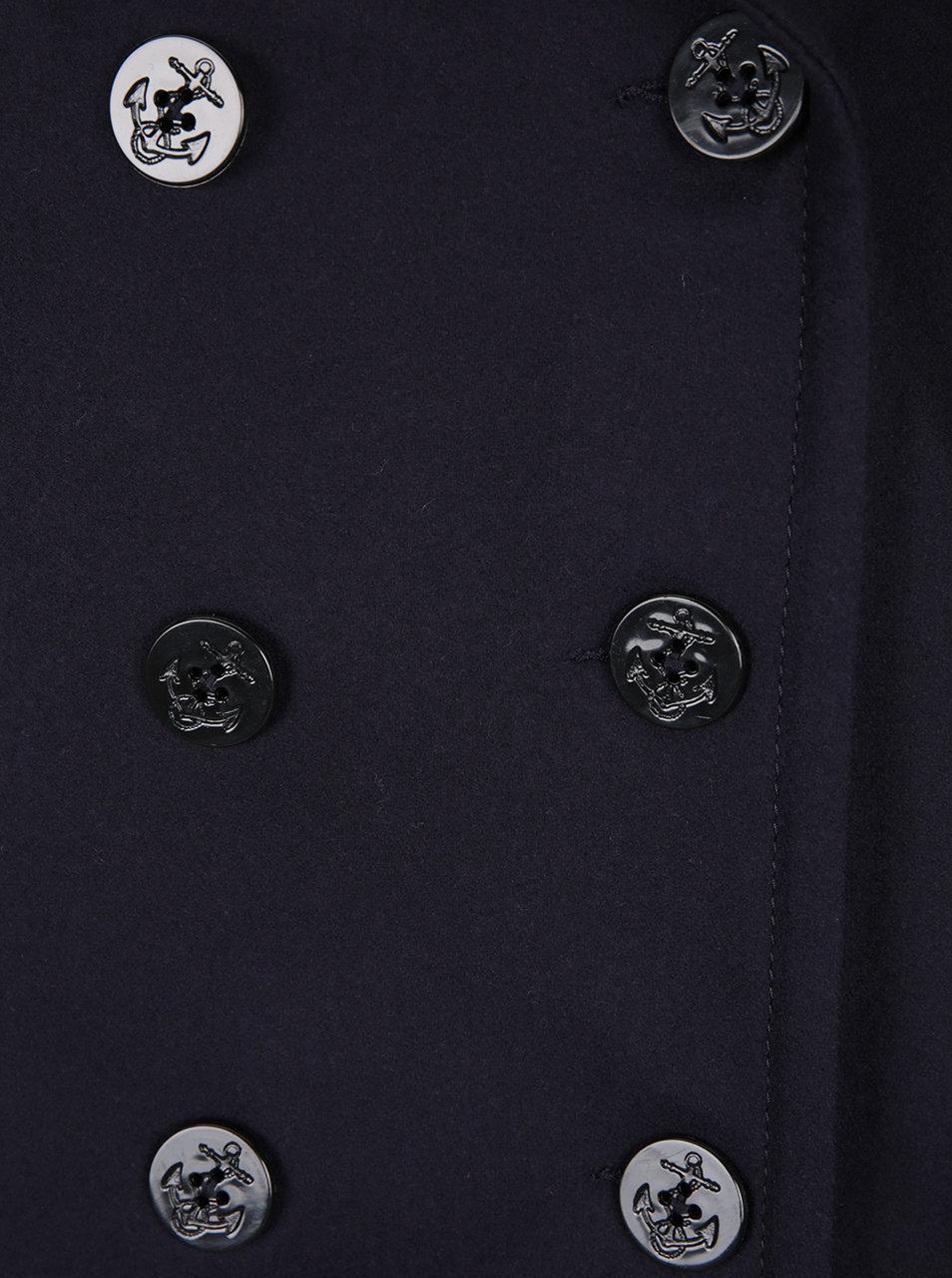 Tmavě modrý vlněný kabát s příměsí kašmíru French Connection Platform ... 6ba56fef231