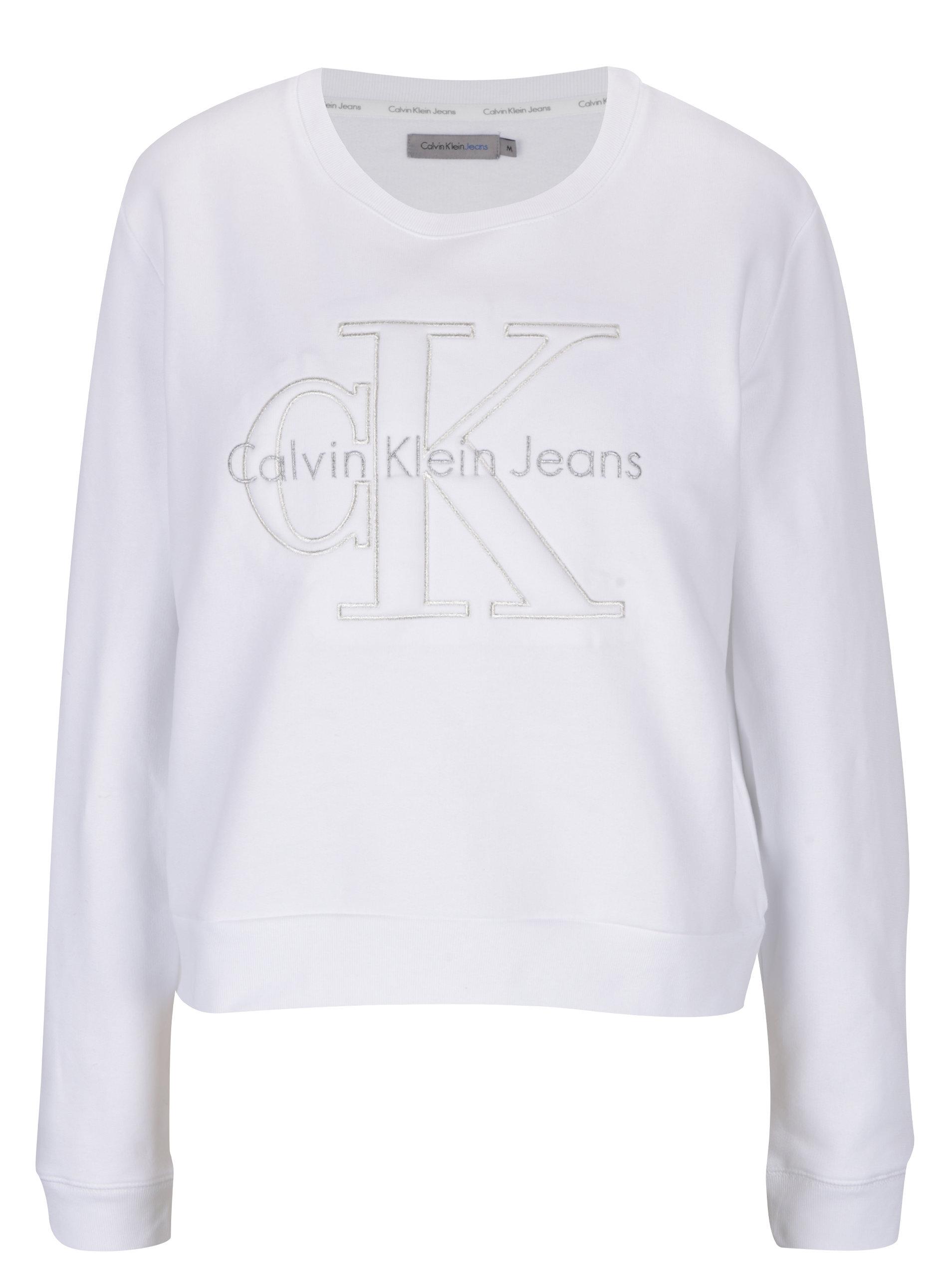 Bílá dámská mikina s výšivkou Calvin Klein Jeans Harper ... 32d62d5d9dc