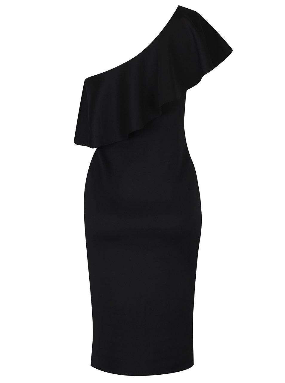8c6dcd0413fe Čierne puzdrové šaty na jedno rameno s volánom Dorothy Perkins Tall ...