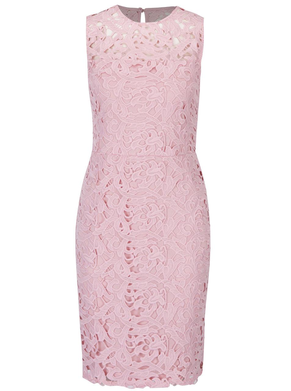 Ružové čipkované puzdrové šaty Dorothy Perkins ... 44ea6e021a7