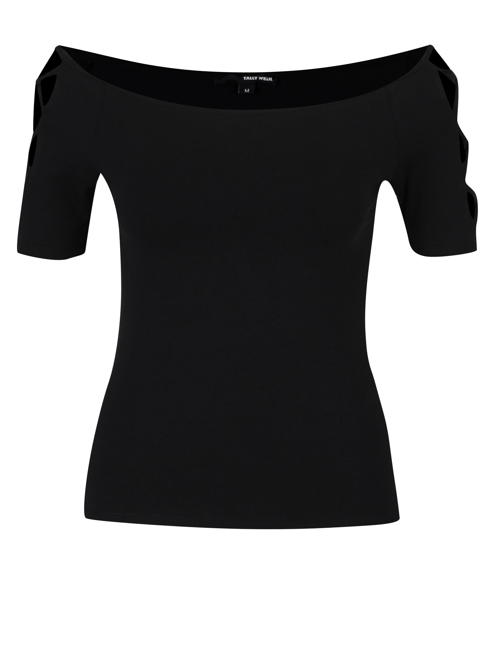 72c9372ca2 Čierne priliehavé tričko s odhalenými ramenami TALLY WEiJL ...