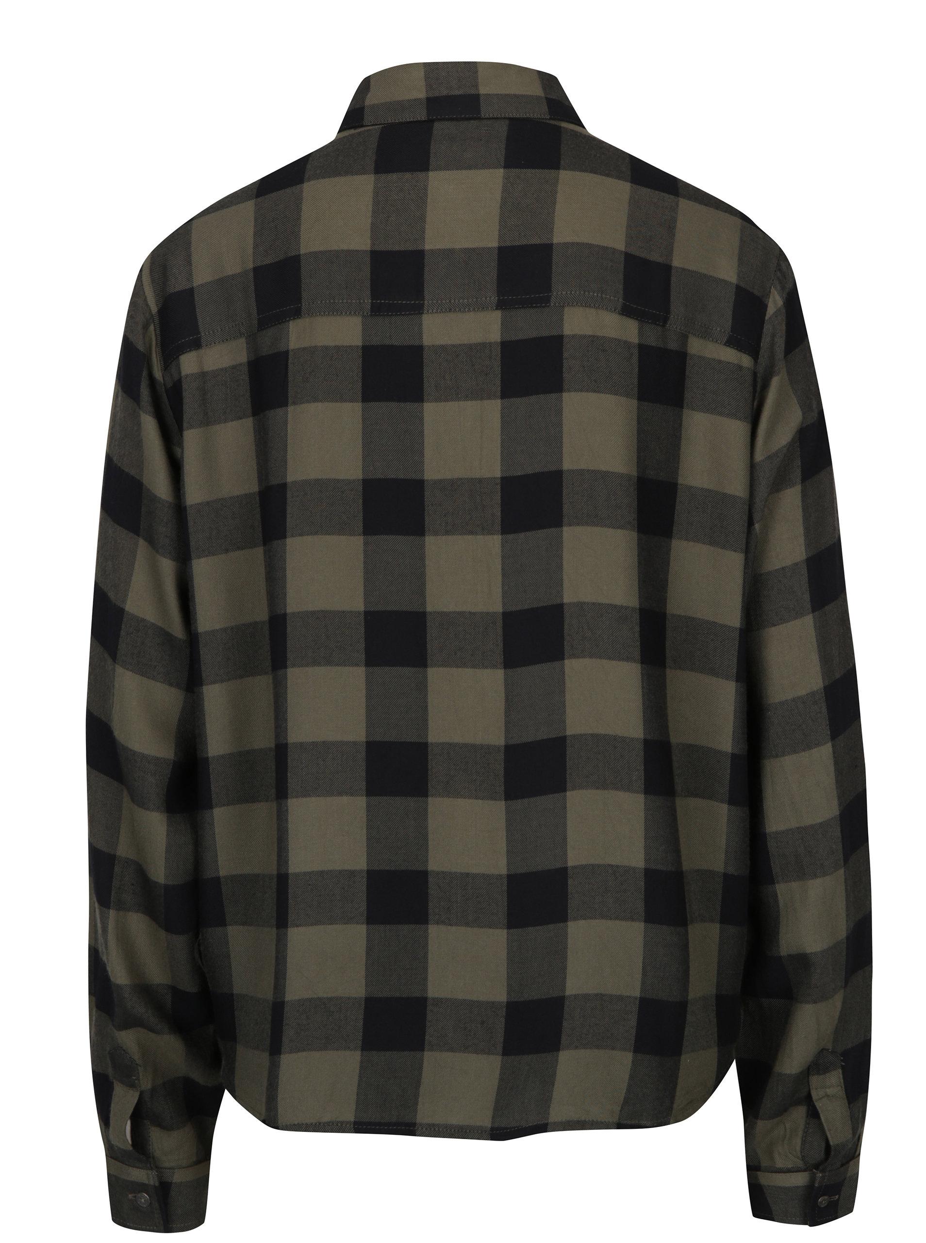 c630fadac4f0 Khaki dámská volná kostkovaná košile Garcia Jeans ...