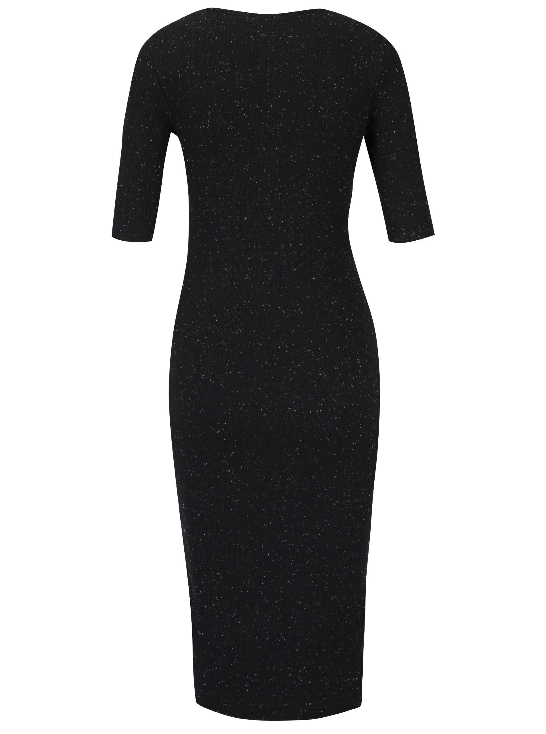Čierne priliehavé šaty s krátkym rukávom a jemným vzorom Garcia Jeans ... 447e46d7ca3