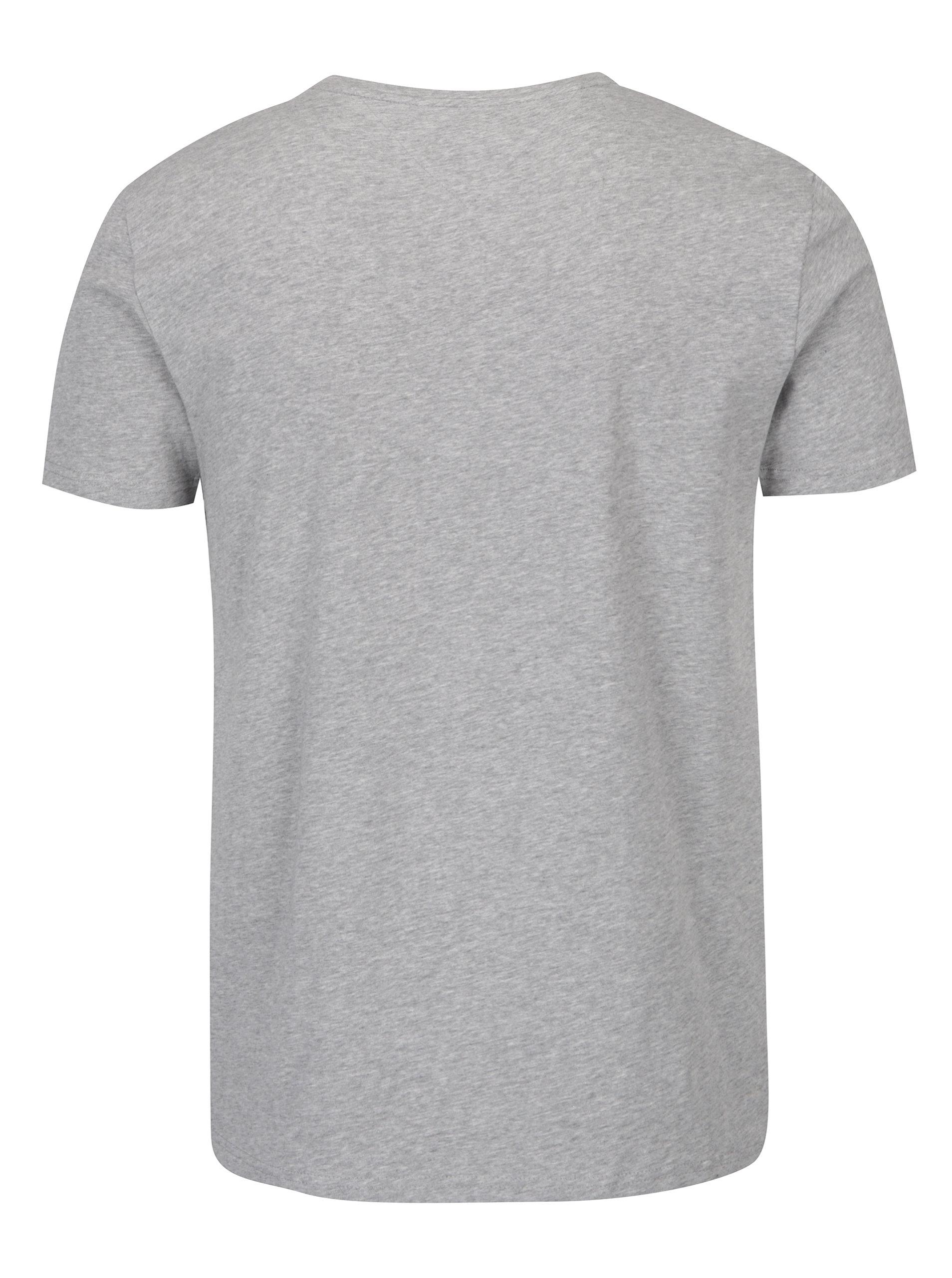 aeb08462f73 Šedé pánské basic tričko s krátkým rukávem Tommy Hilfiger New Stretch ...