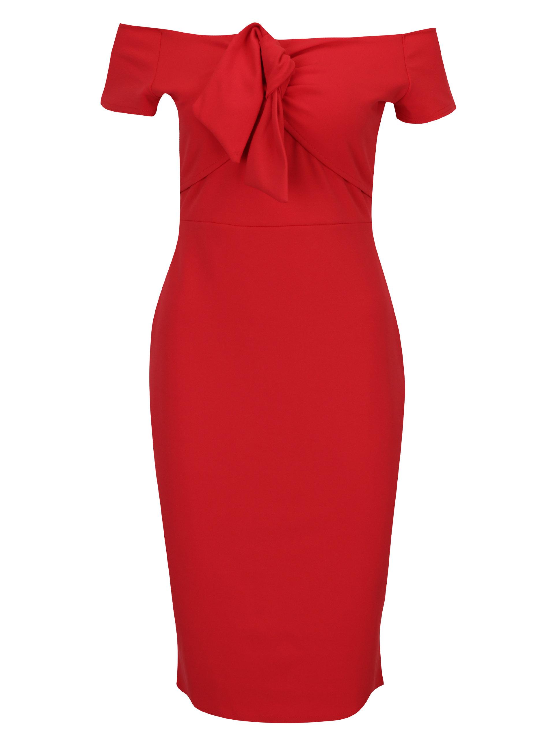 69c39bc6806b Červené pouzdrové šaty s odhalenými rameny Dorothy Perkins ...