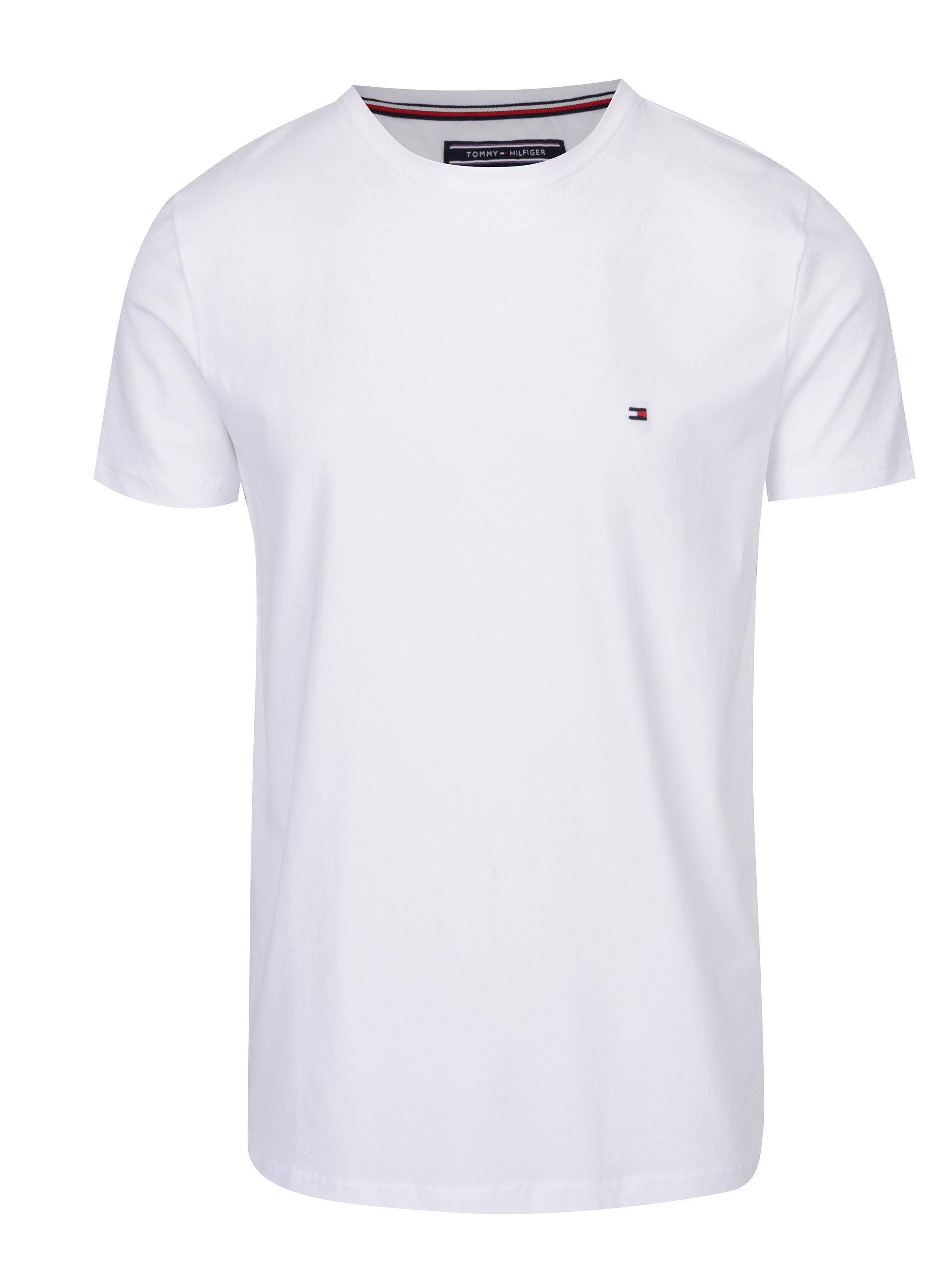 432e1ff6bc Biele pánske basic tričko s krátkym rukávom Tommy Hilfiger New Stretch ...