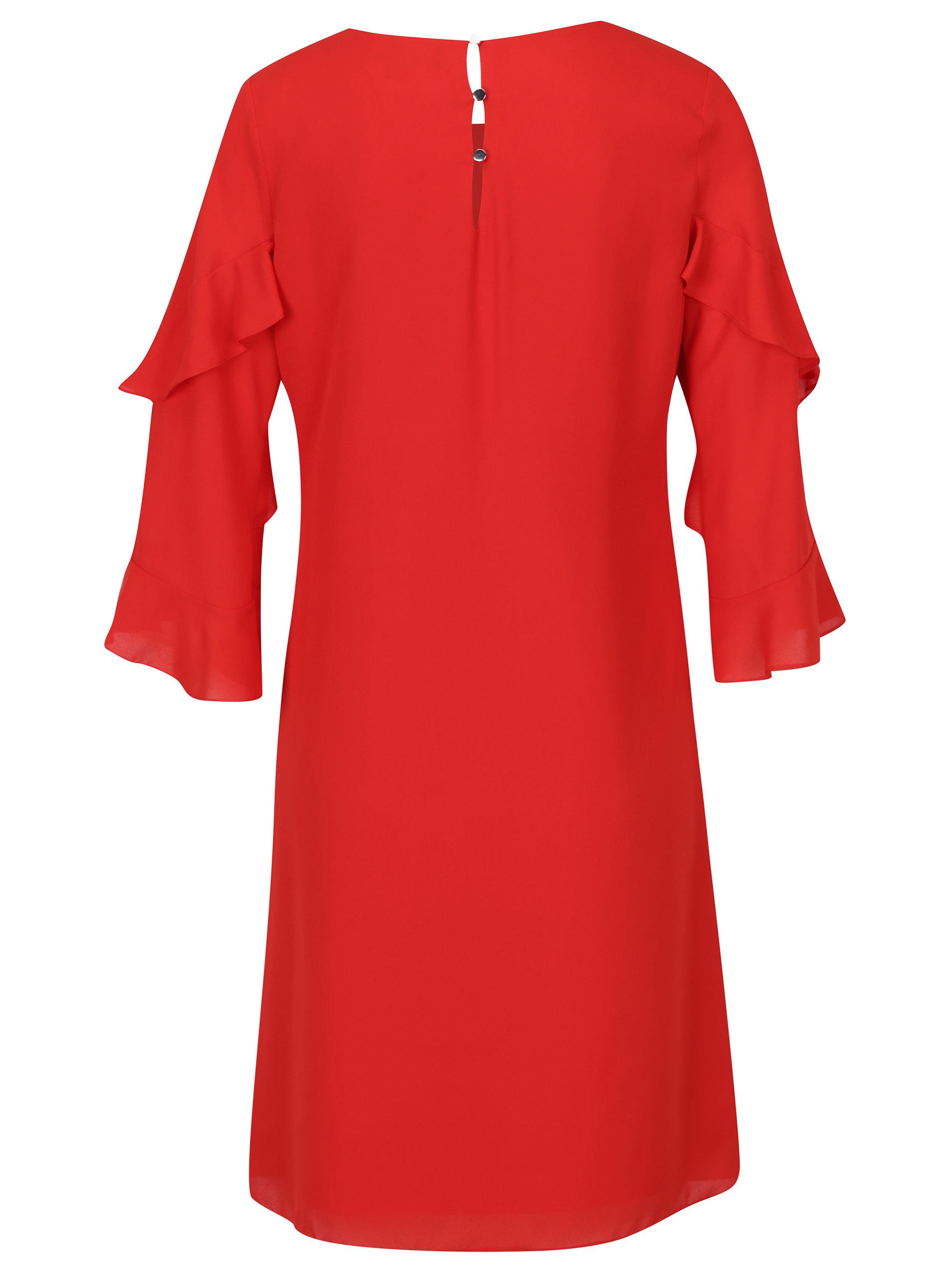 7fedafd2f0c7 Červené voľné šaty s volánmi na rukávoch Dorothy Perkins Tall ...