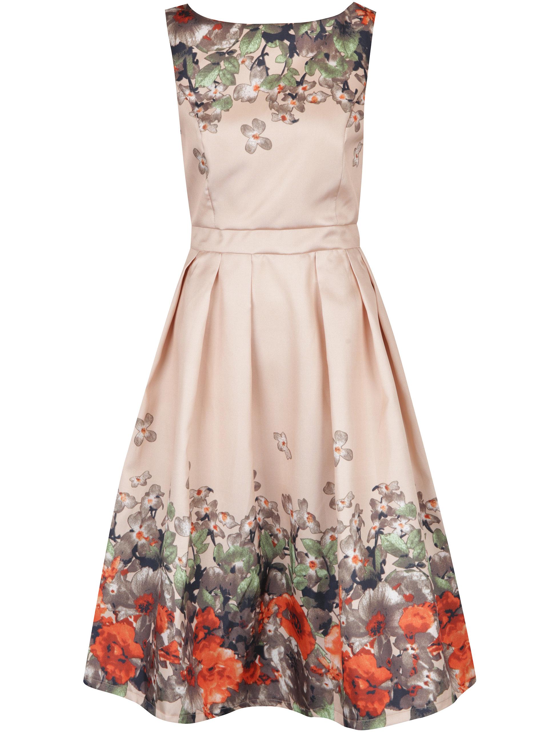 Béžové šaty s potlačou kvetín Mela London ... 280a321d0a6