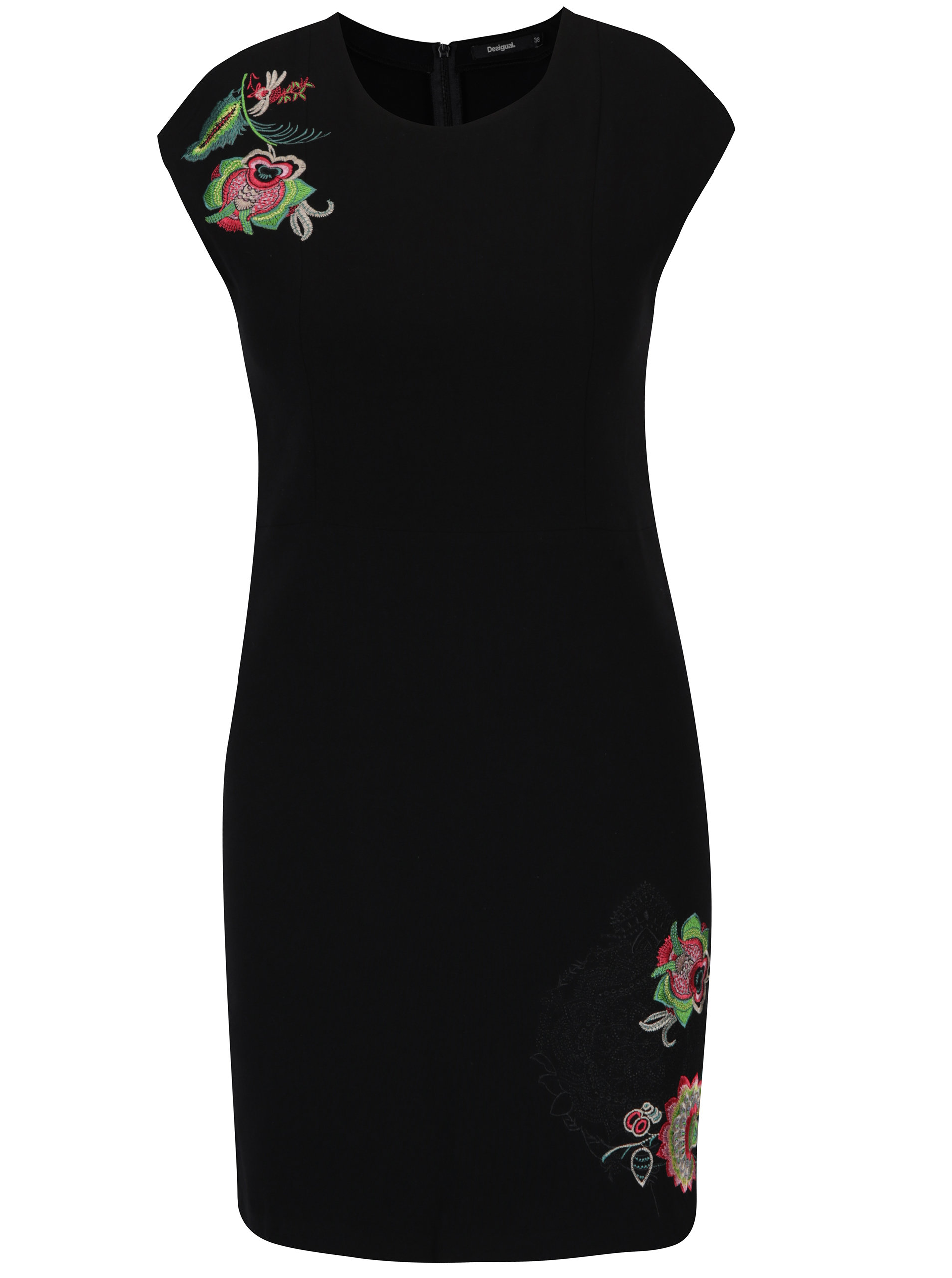 9248223f587 Černé pouzdrové šaty s výšivkami Desigual Brendan ...