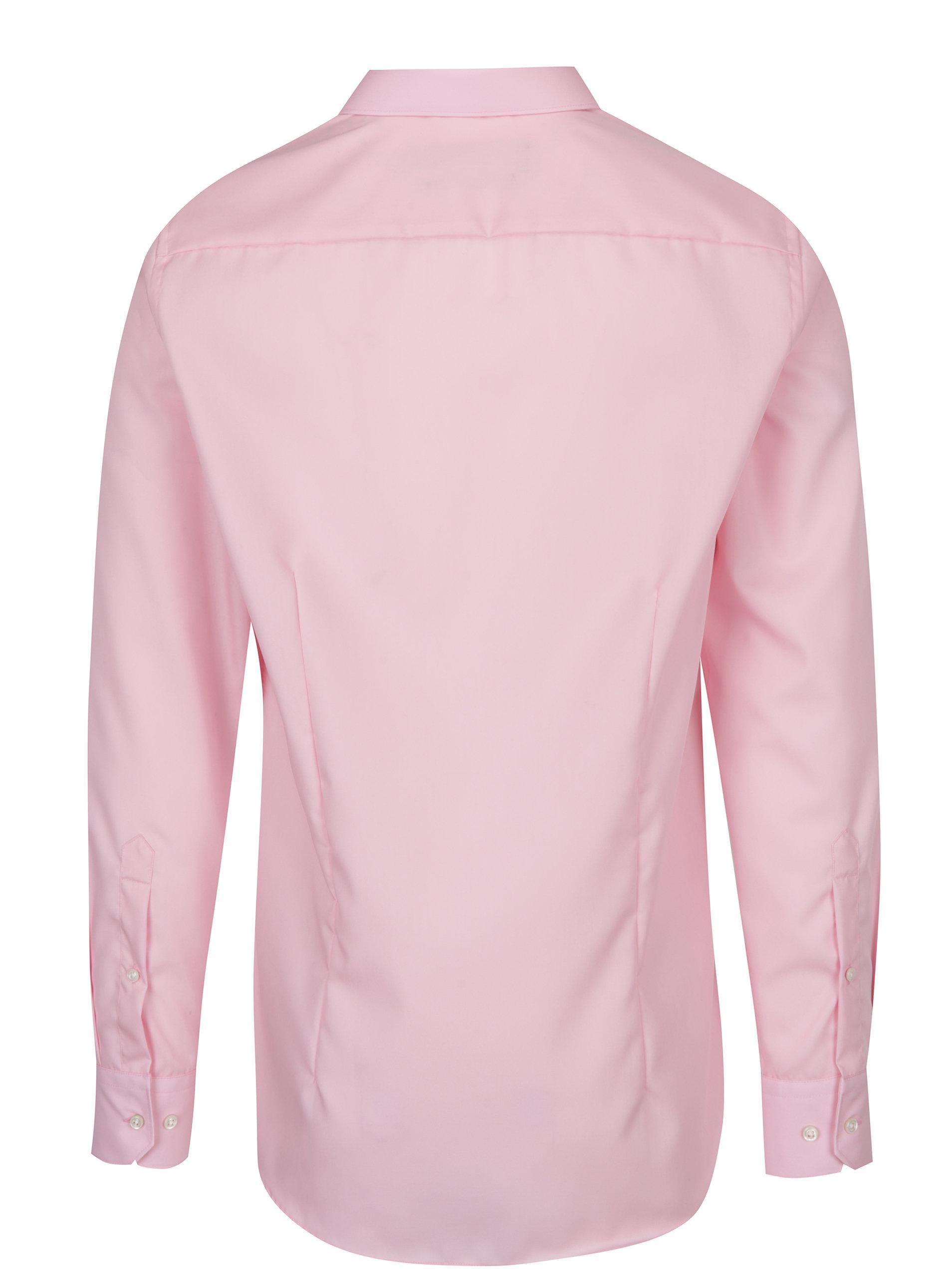 Světle růžová pánská formální slim fit košile STEVULA ... d84f0bb6af