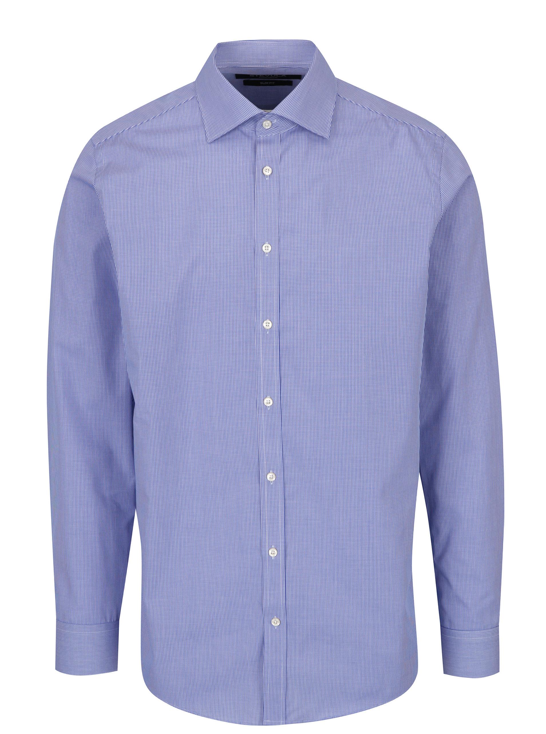 96e51cb7261a Modrá pánska formálna slim fit košeľa s jemným vzorom STEVULA ...