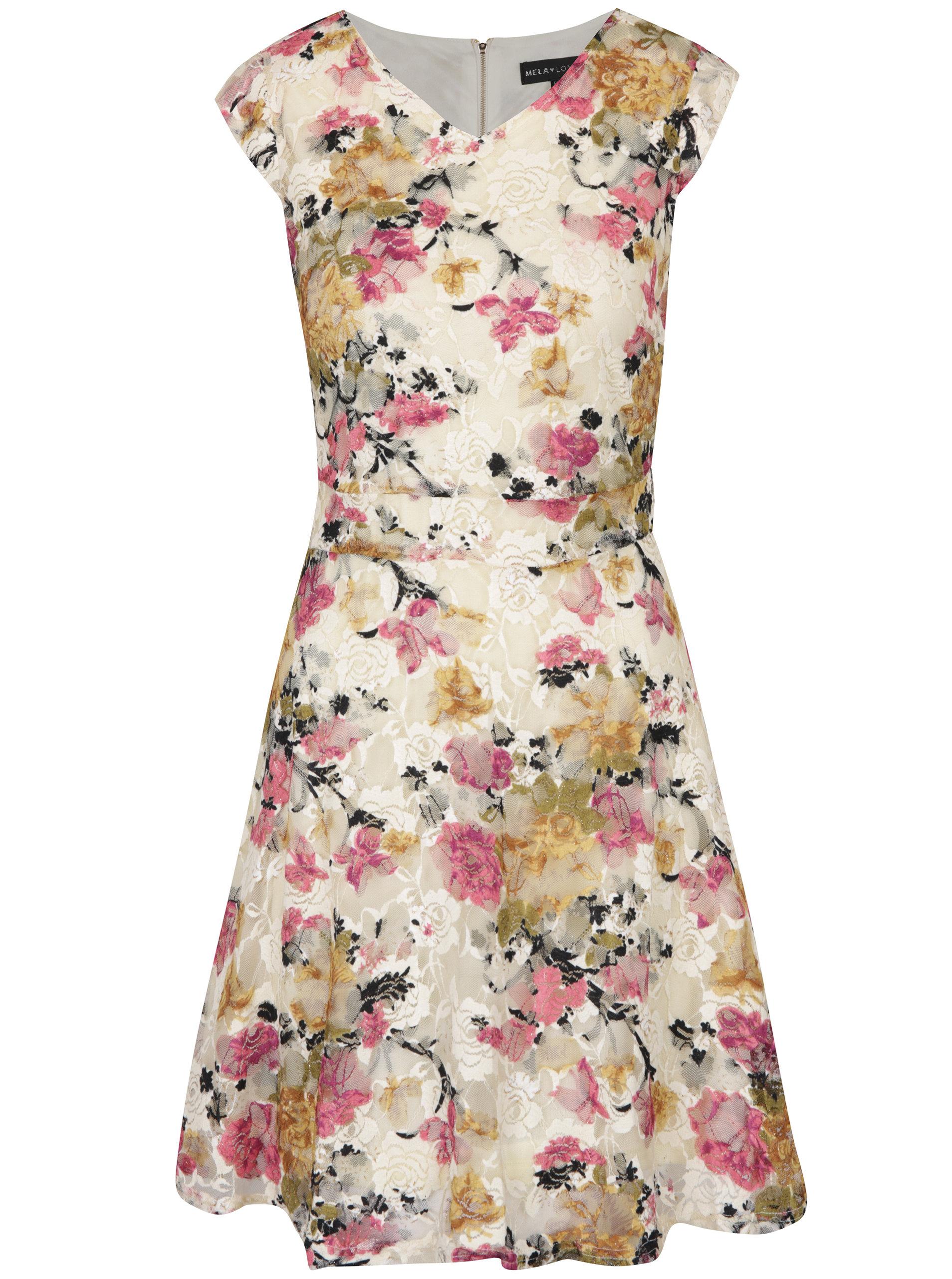Béžovo-krémové květované šaty Mela London ... 98bae56c1f0