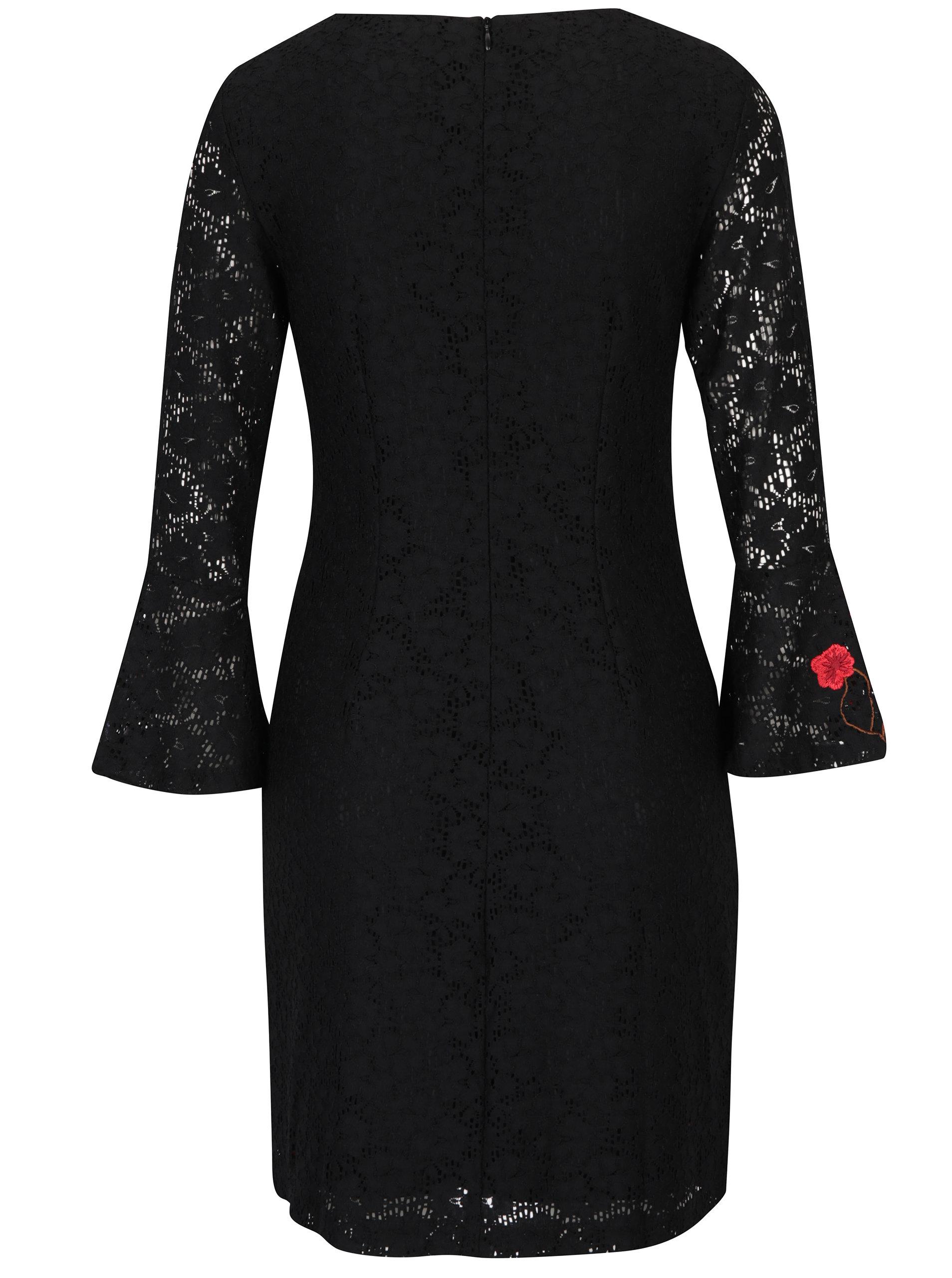 3c6b918e5d3 Černé krajkové šaty se zvonovými rukávy a výšivkami Desigual Vermond ...