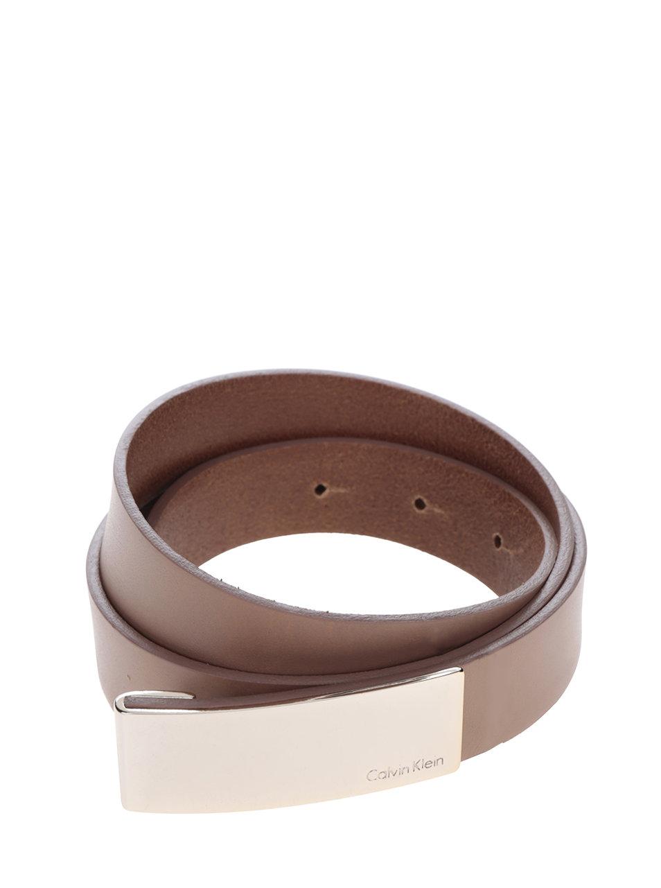 ae56961b7 Svetlohnedý dámsky kožený opasok s ozdobnou sponou Calvin Klein Jeans  Standalone ...