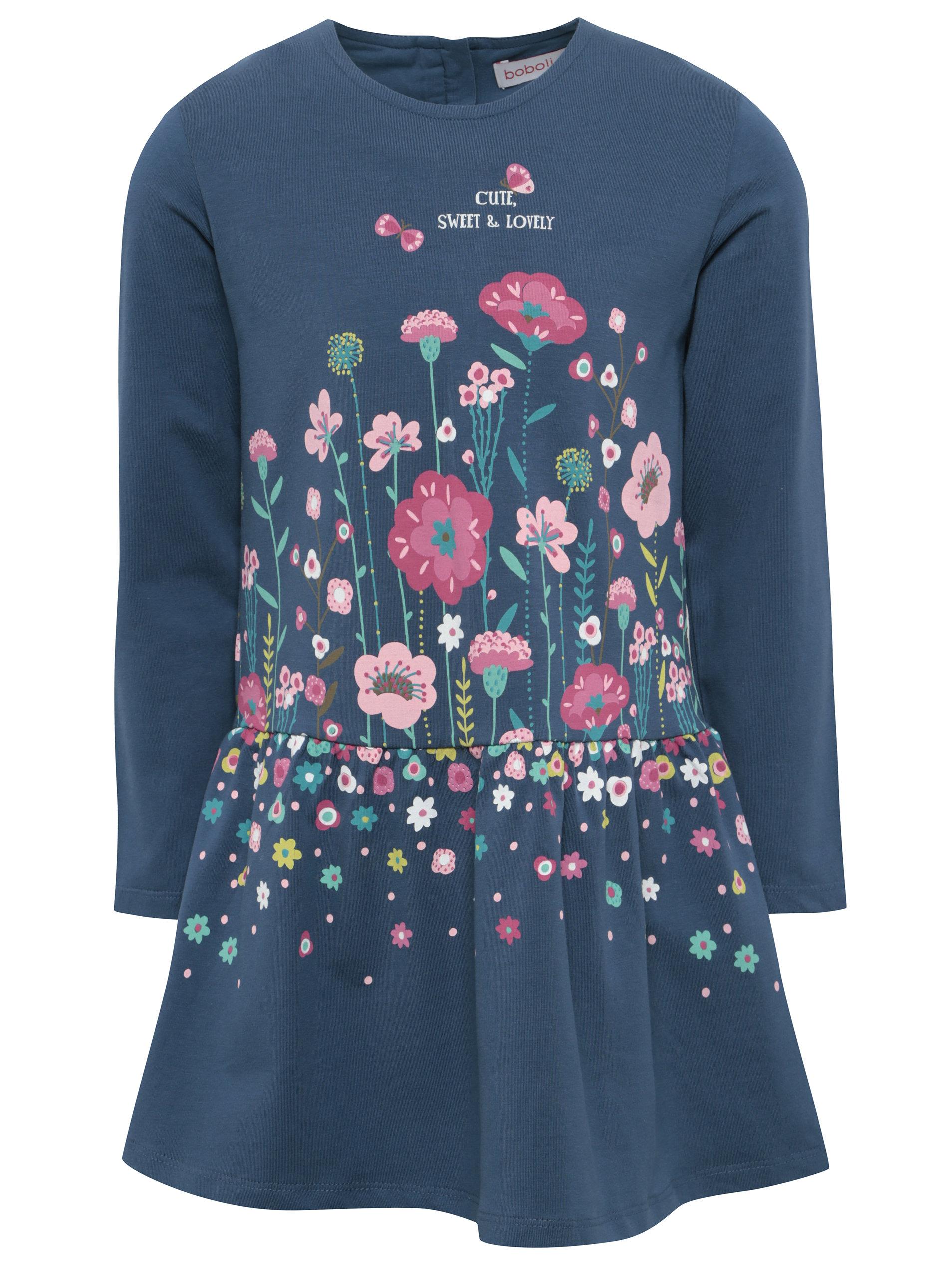 Modré dievčenské šaty s potlačou kvetín BÓBOLI ... 1f8d683d3d5