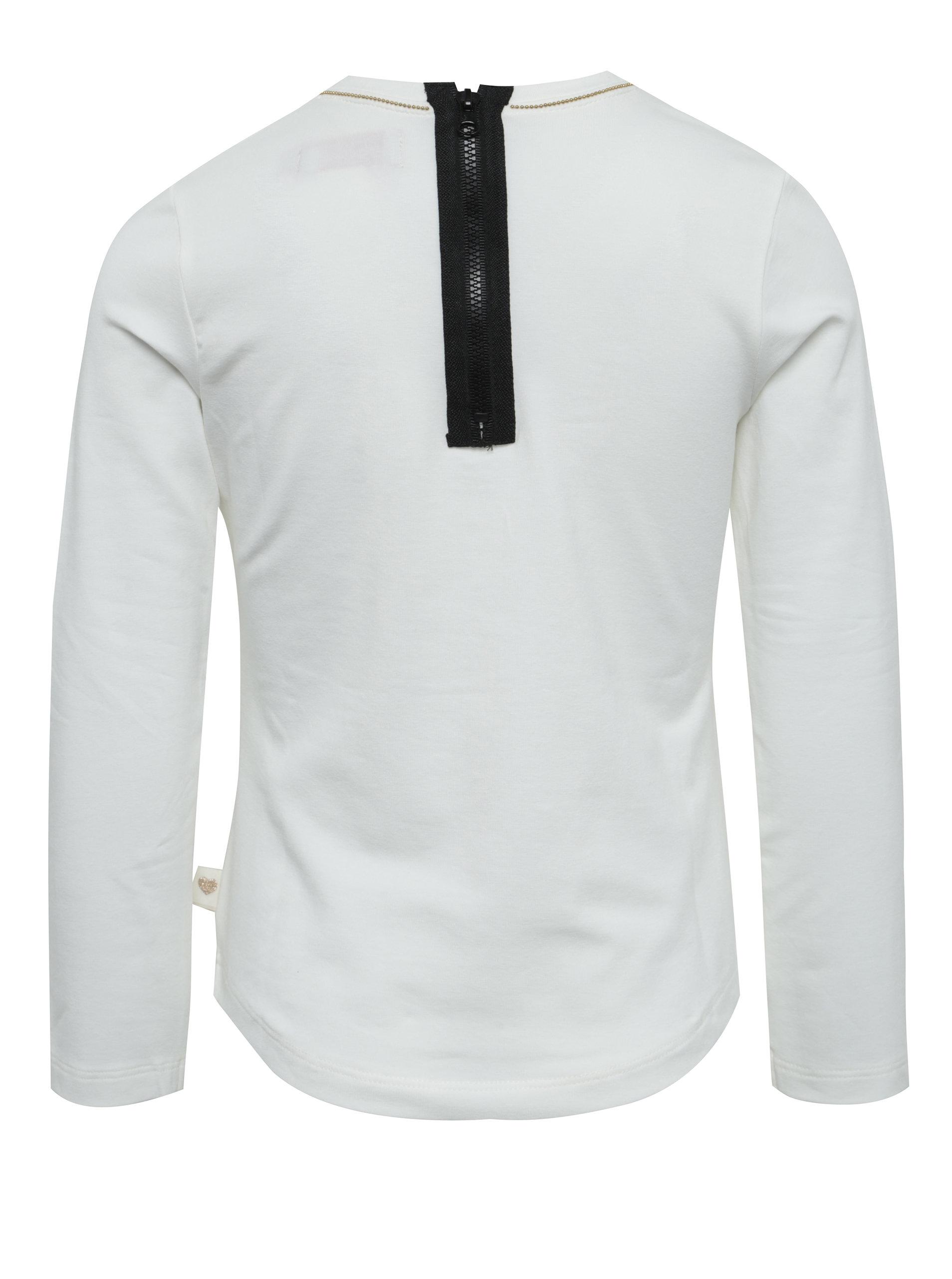 cbe00c735158 Krémové dievčenské tričko s potlačou a zipsom na chrbte BÓBOLI ...