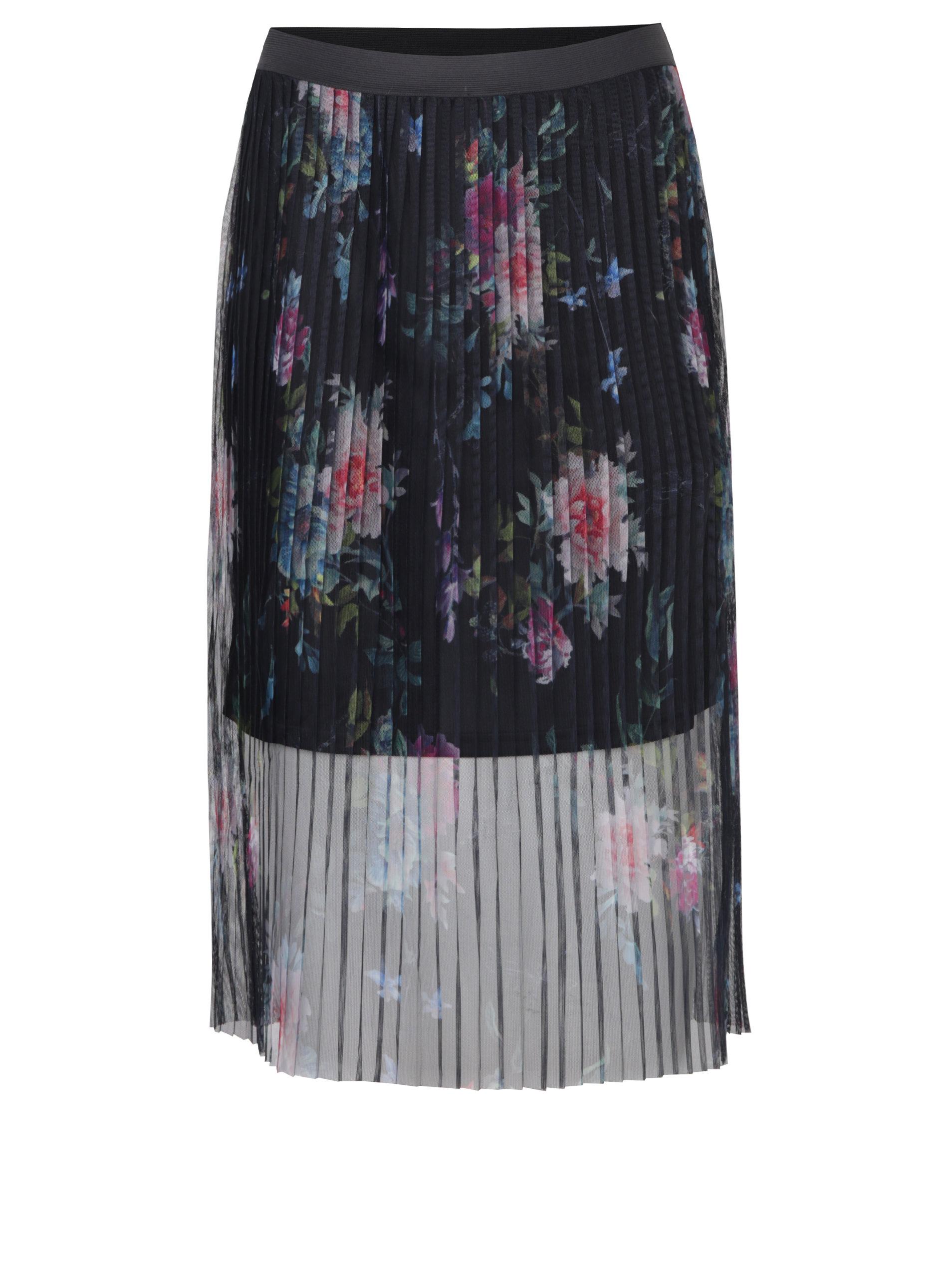 daaf818784af Tmavomodrá tylová plisovaná kvetovaná sukňa ONLY Nanna ...
