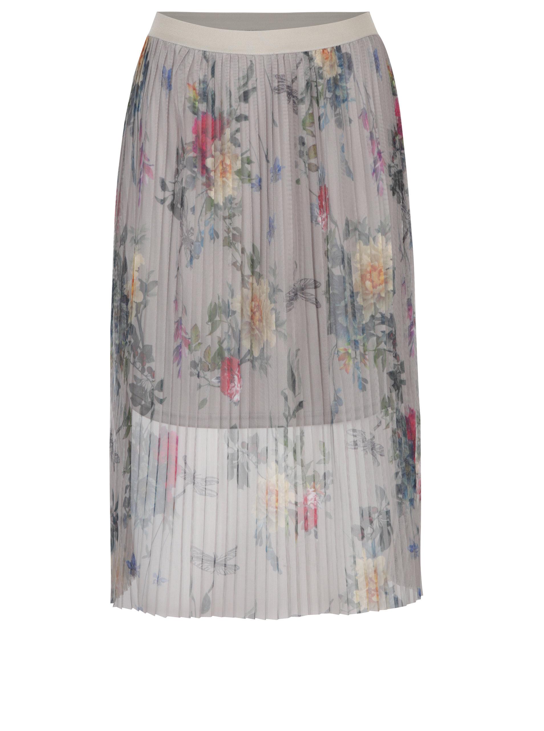 b9510f9018ea Sivá tylová plisovaná kvetovaná sukňa ONLY Nanna ...