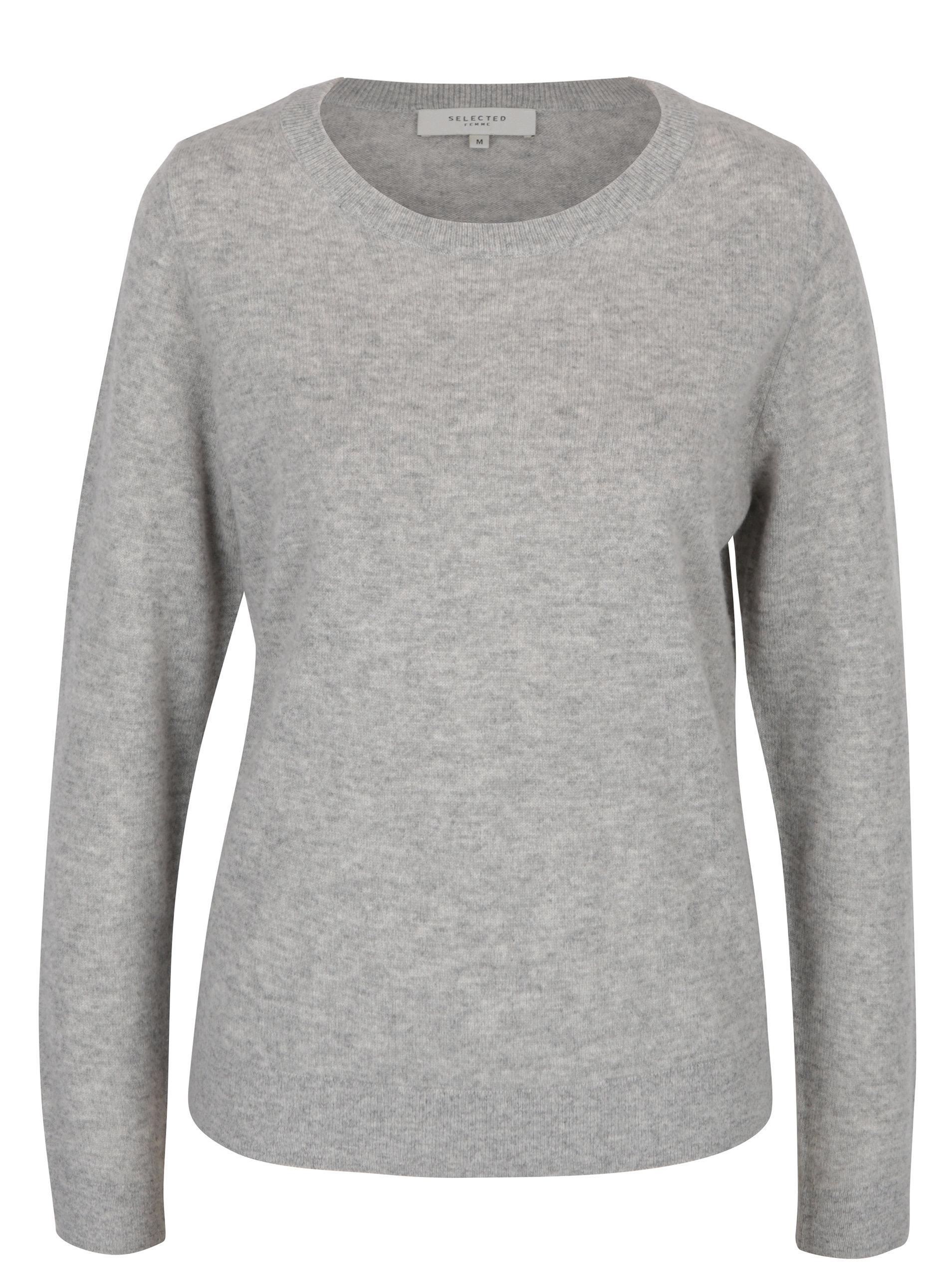 Šedý kašmírový svetr Selected Femme Aya ... c080ef74d8
