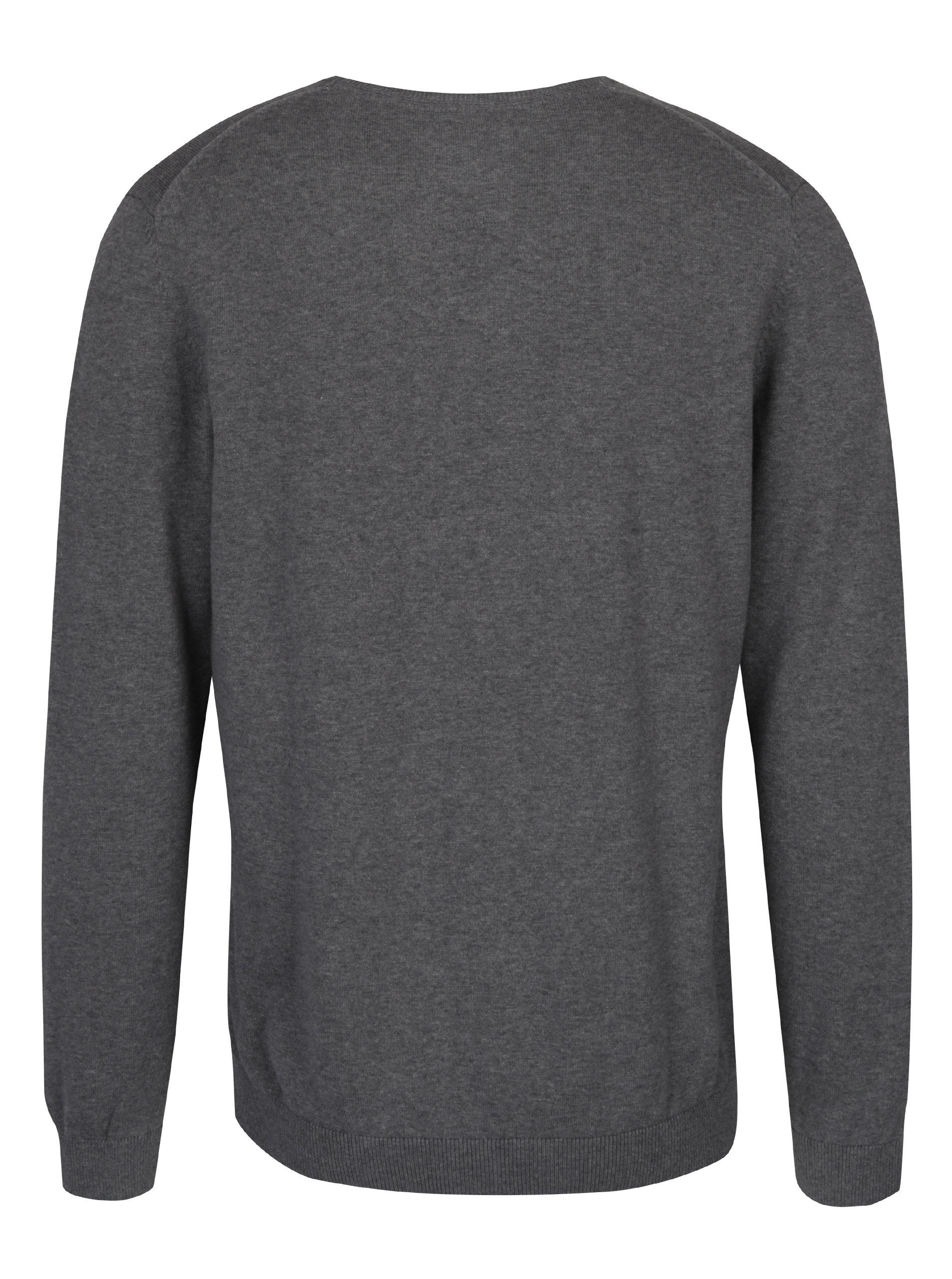 Šedý pánský svetr s véčkovým výstřihem s.Oliver  c40b5920c4