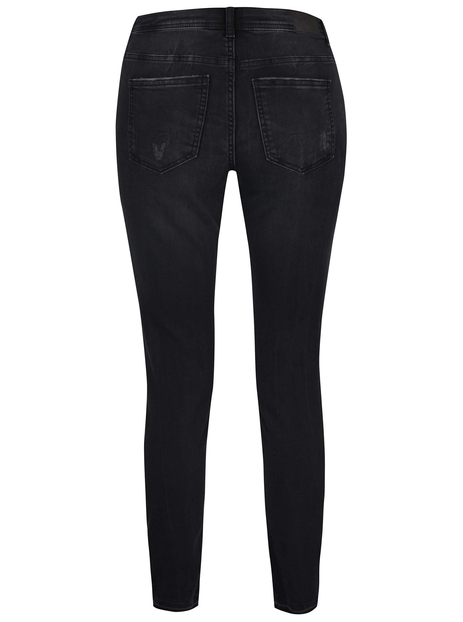 Tmavě šedé skinny džíny s potrhaným efektem Jacqueline de Yong Skinny ... cdbf6ac6c3