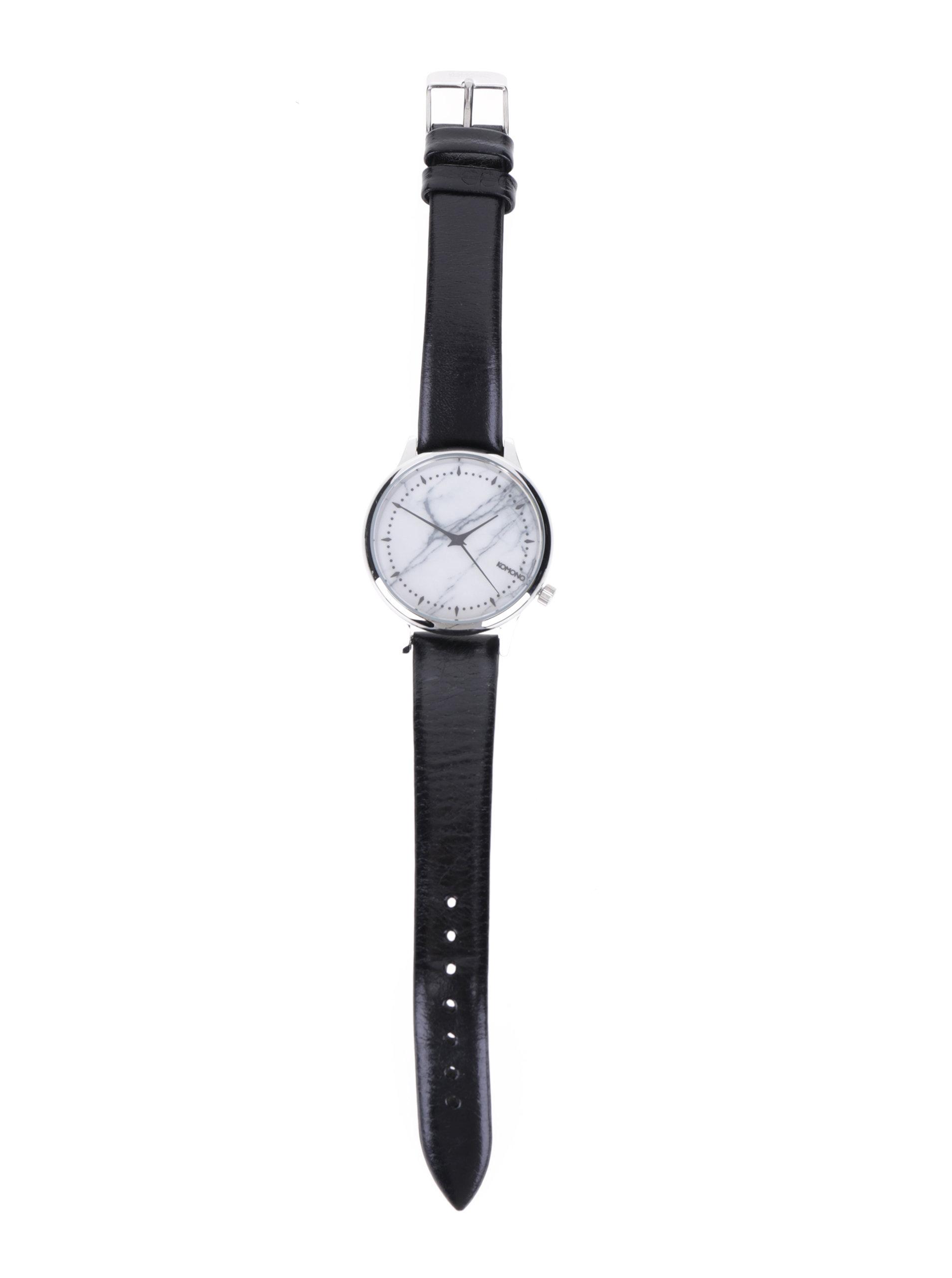 1e350d7f77e ... Dámské hodinky s mramorovaným ciferníkem a černým koženým páskem Komono  Estelle Marble ...