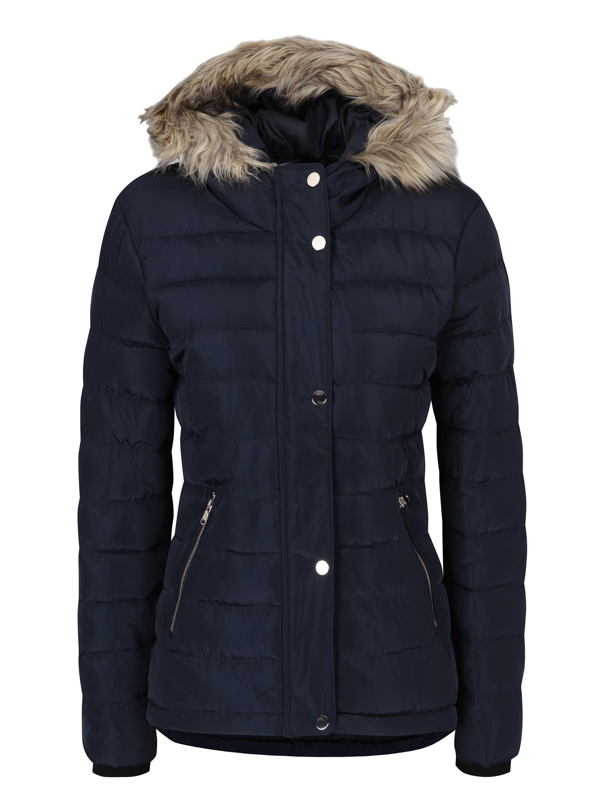 1e69537556 Tmavomodrá prešívaná zimná bunda s umelou kožušinou Dorothy Perkins ...