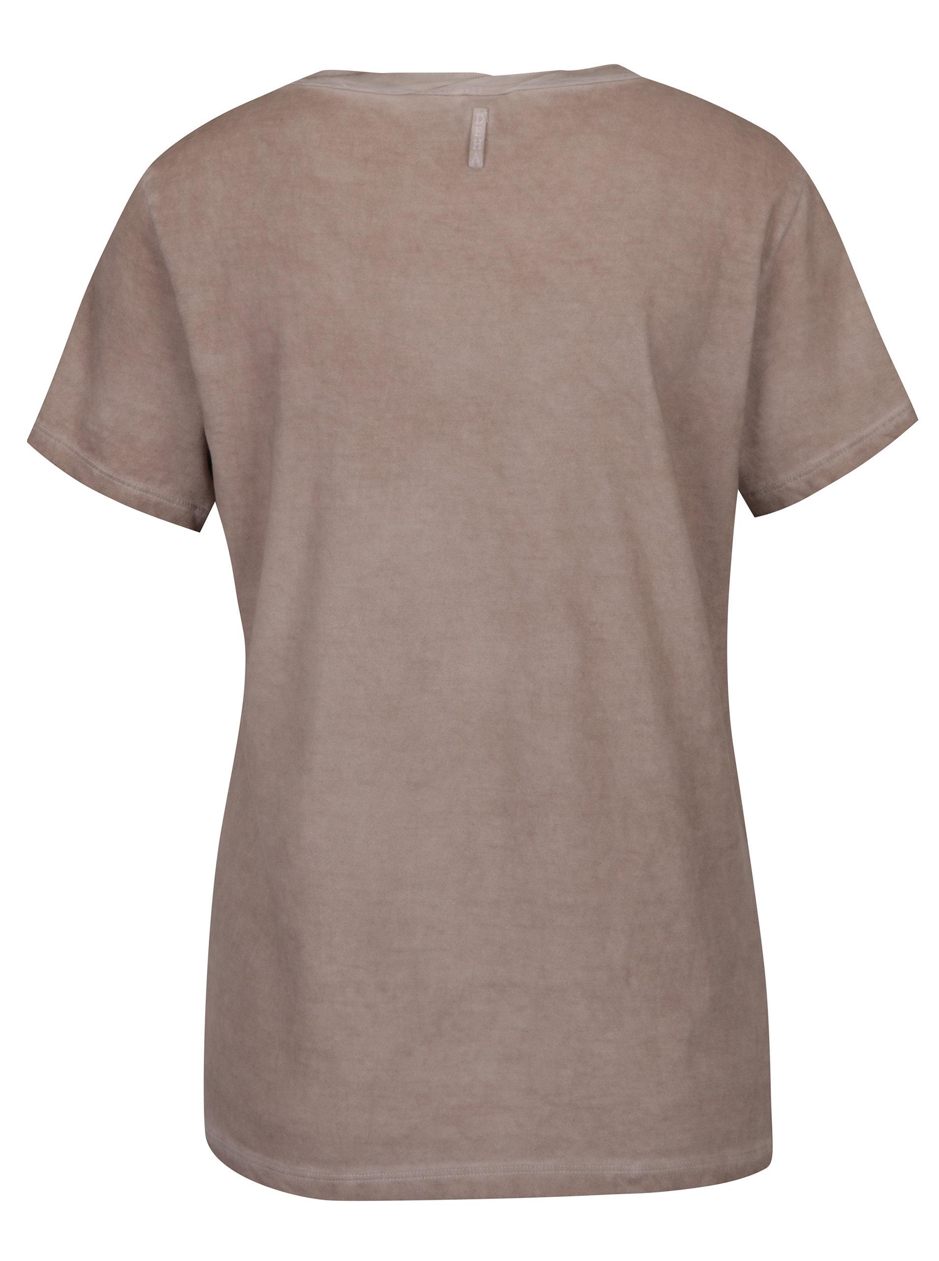 e506700326ba Béžové tričko s potiskem DEHA ...