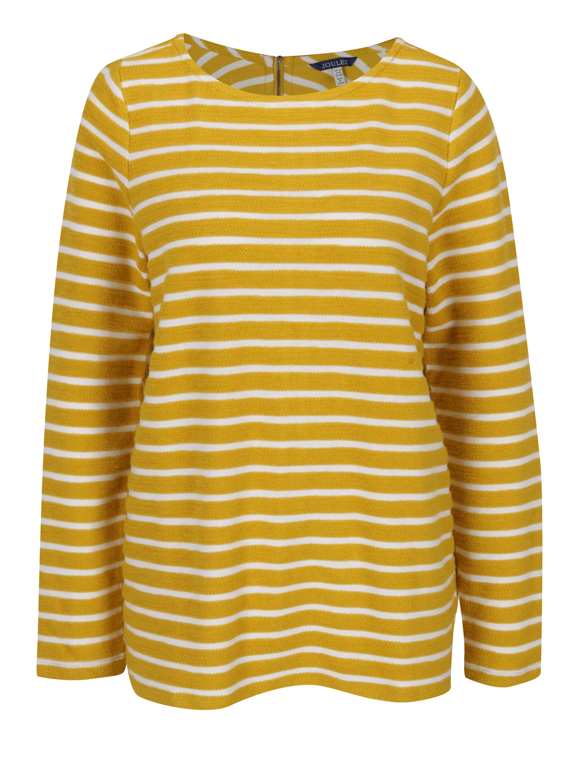 Žlutý pruhovaný dámský svetr se zipem Tom Joule Caroline ... 4dd6967546