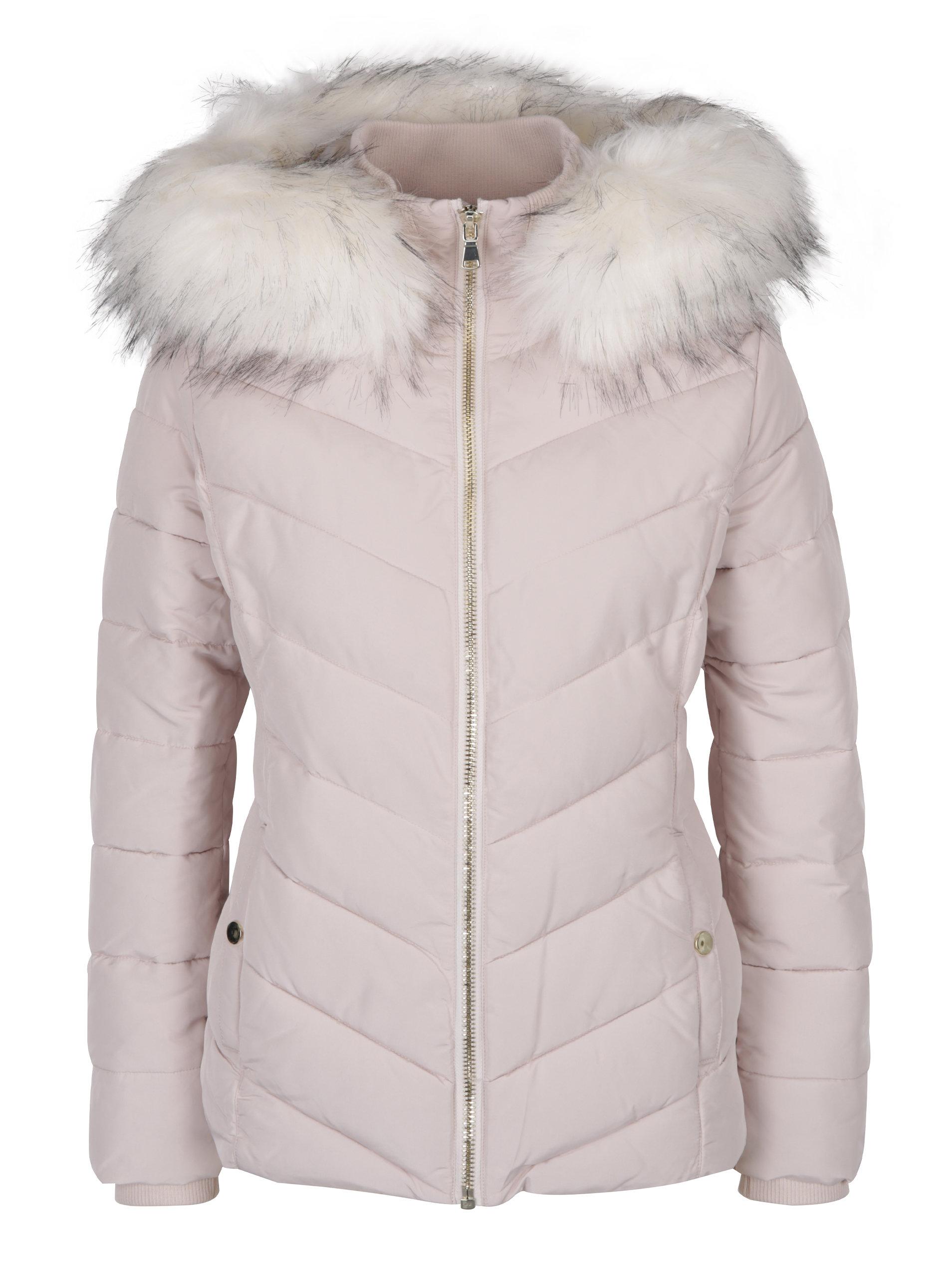 356df8a2a13e Staroružová prešívaná bunda s umelou kožušinkou Miss Selfridge ...