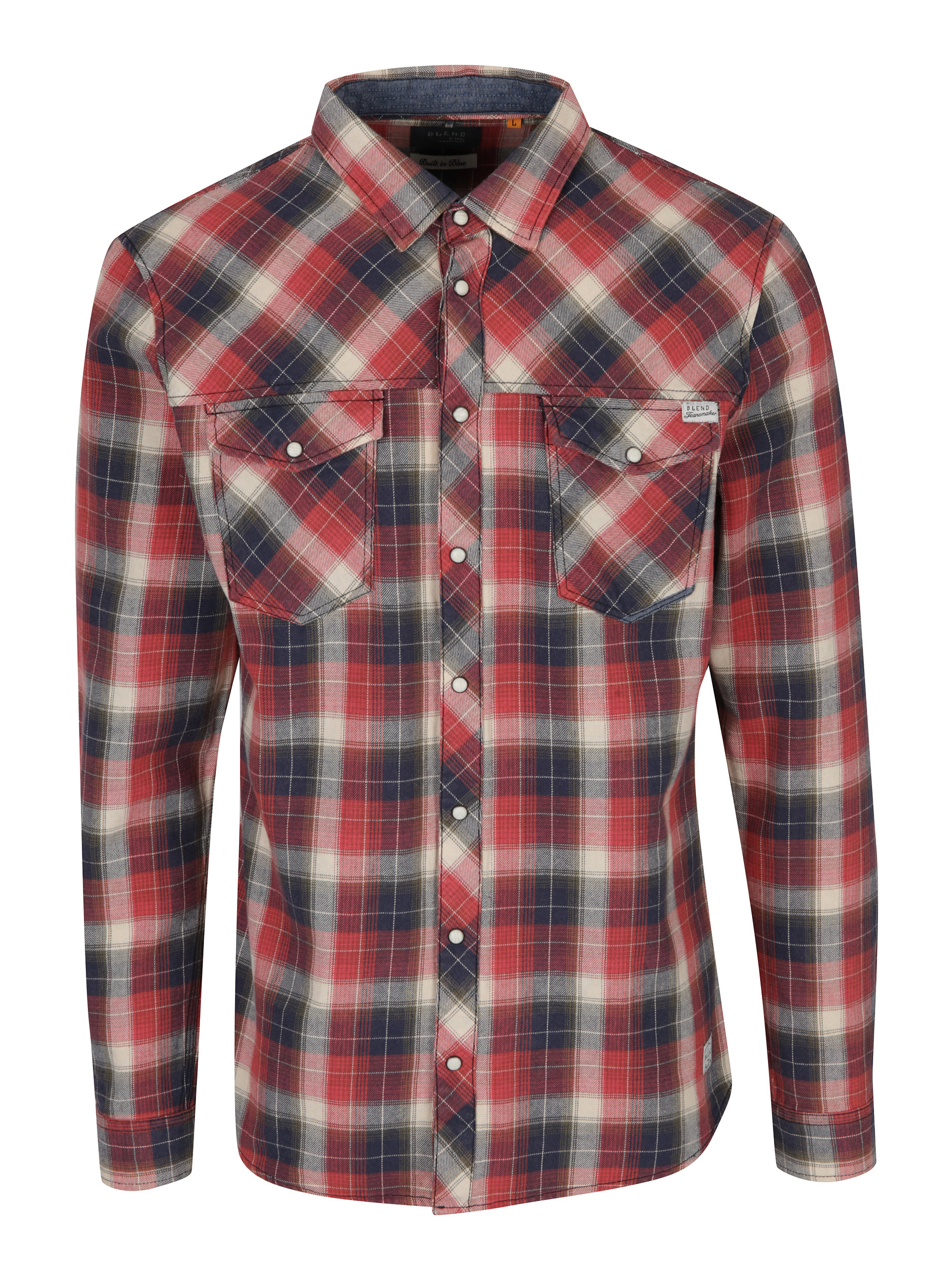 Modro-červená kostkovaná slim fit košile Blend ... 856aad1412
