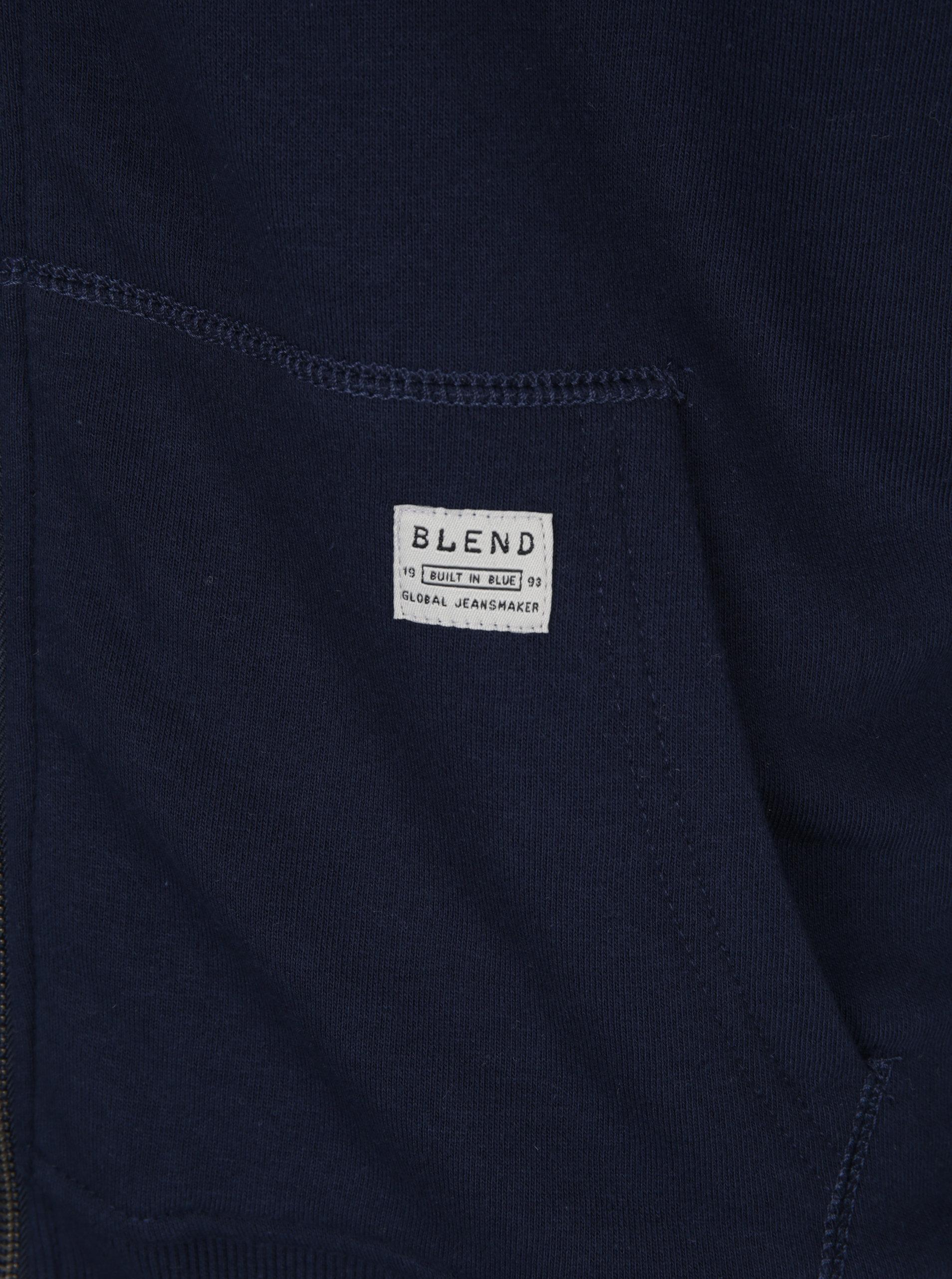 Tmavě modrá pánská mikina s kapucí a umělým kožíškem Blend ... b89cc9b0a9