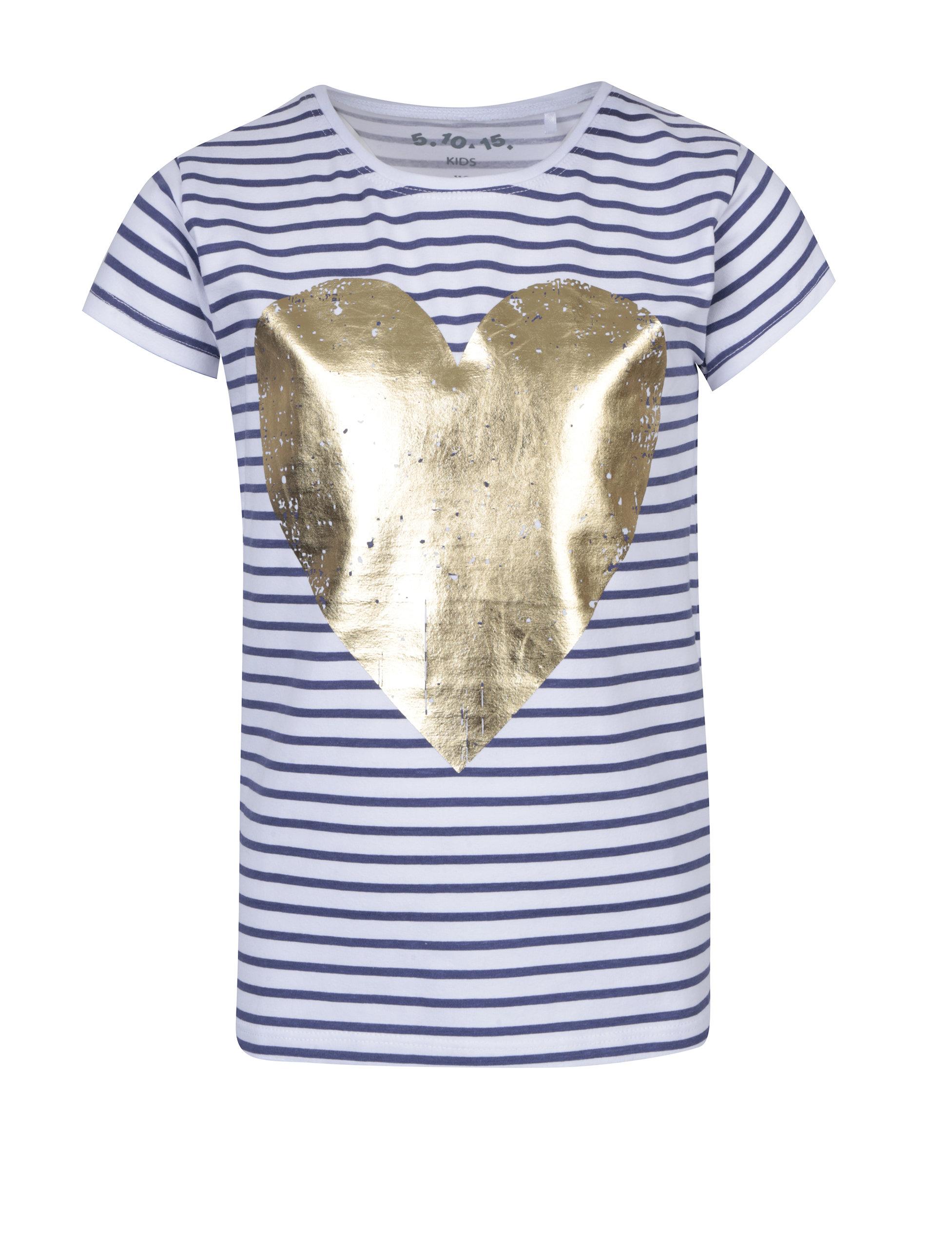 1e06cb19ddfb Modro-biele dievčenské pruhované tričko s potlačou srdca 5.10.15 ...