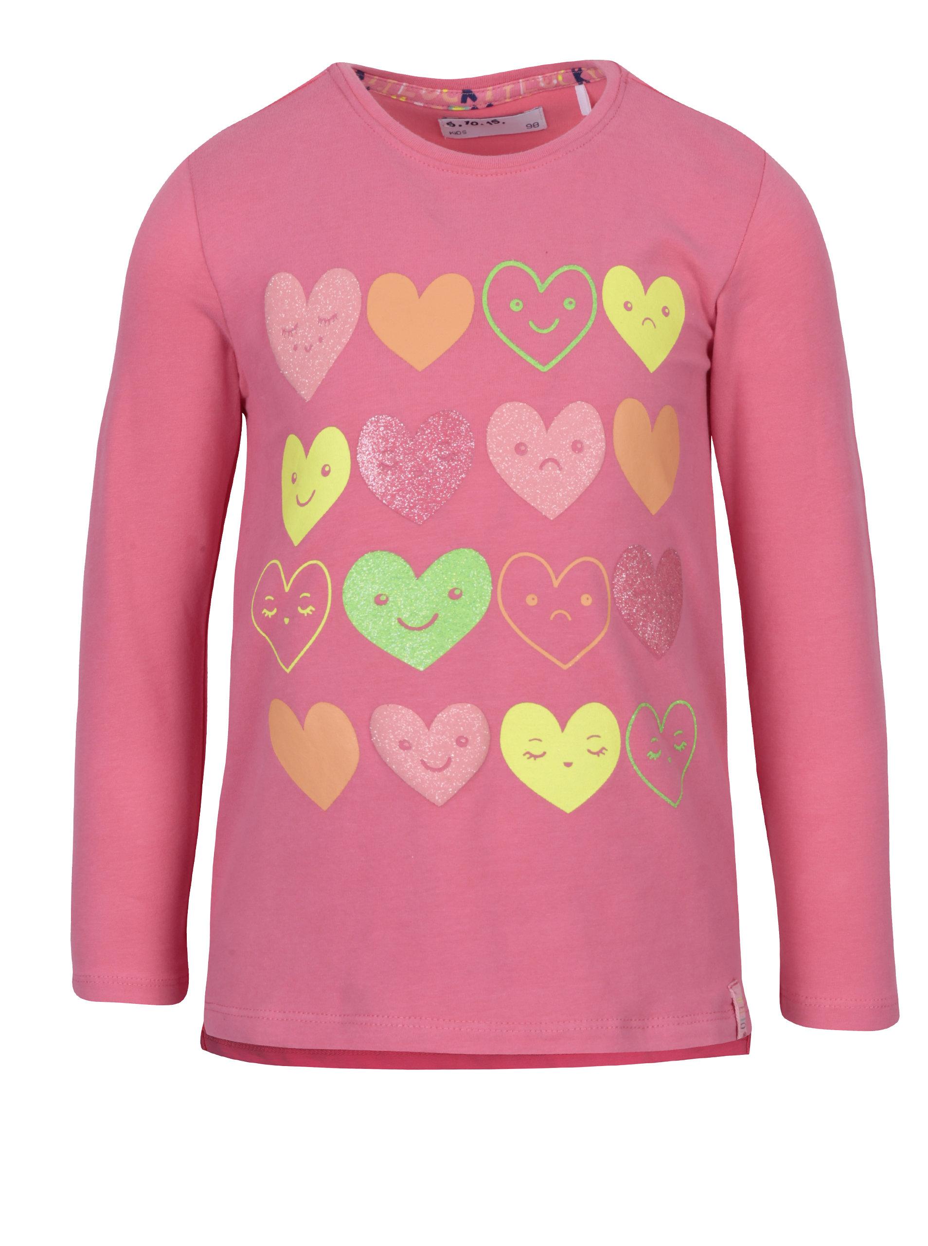 a33295b624c3 Ružové dievčenské tričko s potlačou srdiečok 5.10.15.
