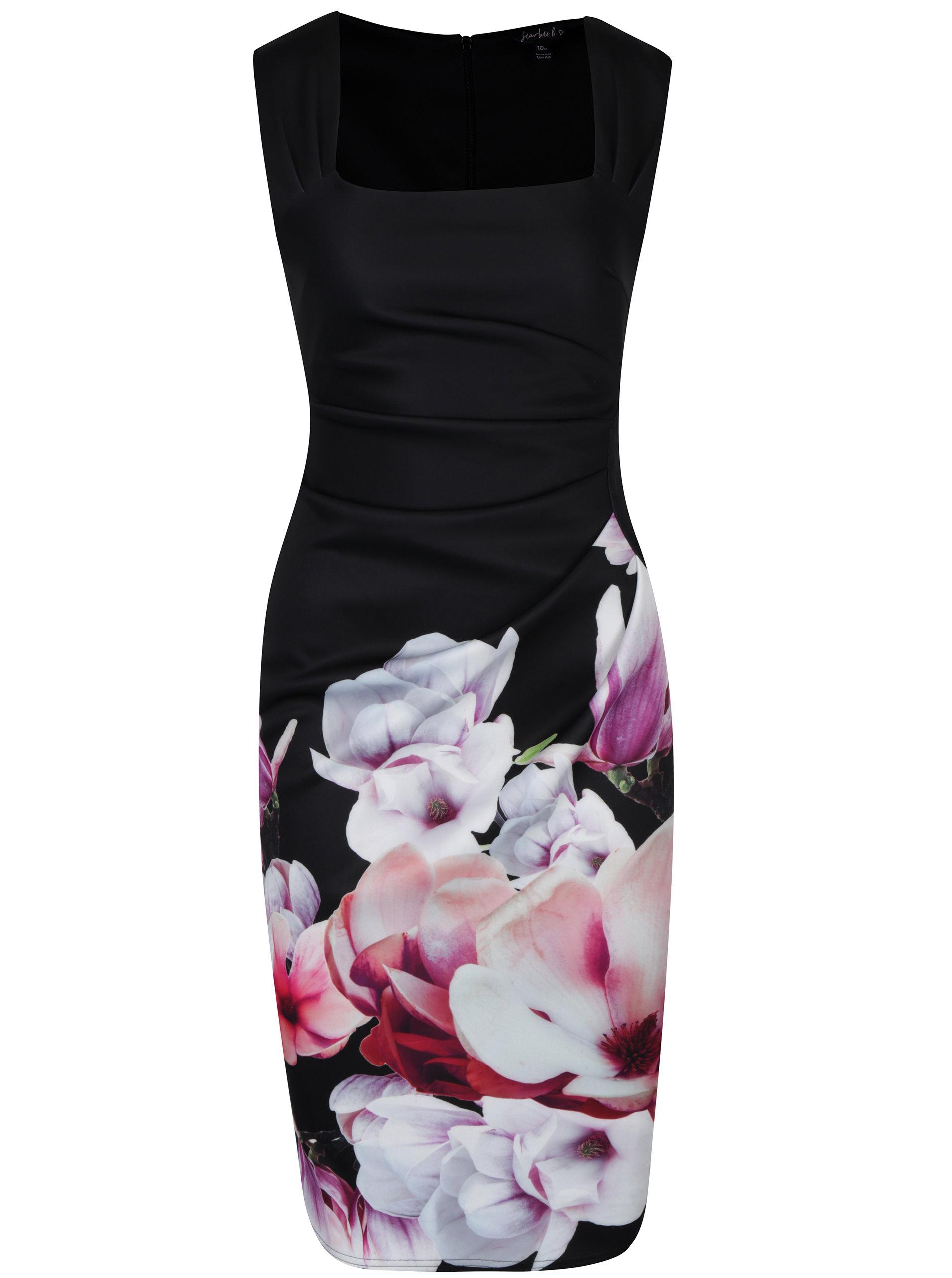 29832311210b Černé pouzdrové šaty s řasením a květinovým potiskem Dorothy Perkins ...