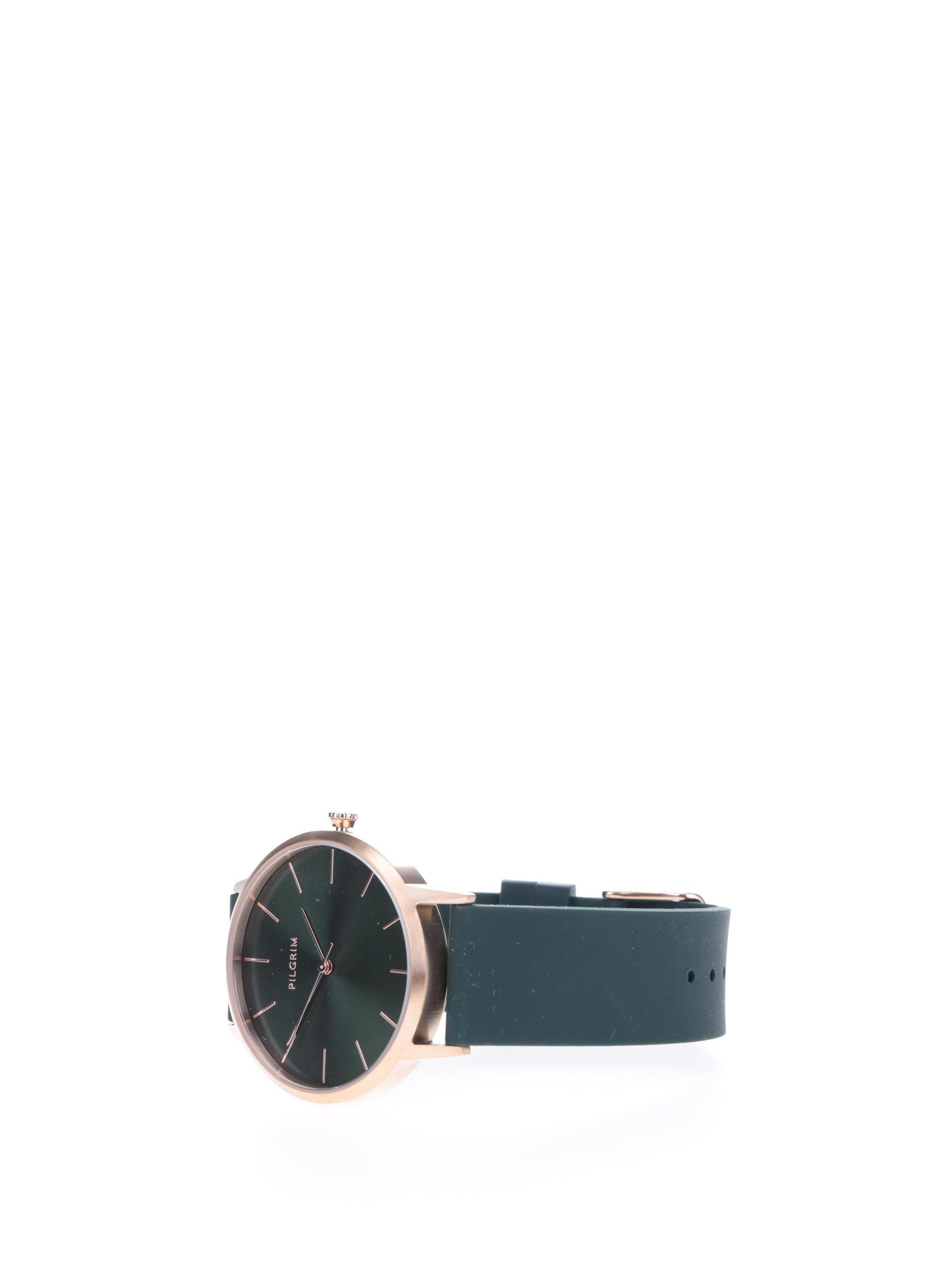 ... Pozlacené hodinky v růžovozlaté barvě se zeleným silikonovým páskem  Pilgrim ... a010b363a6