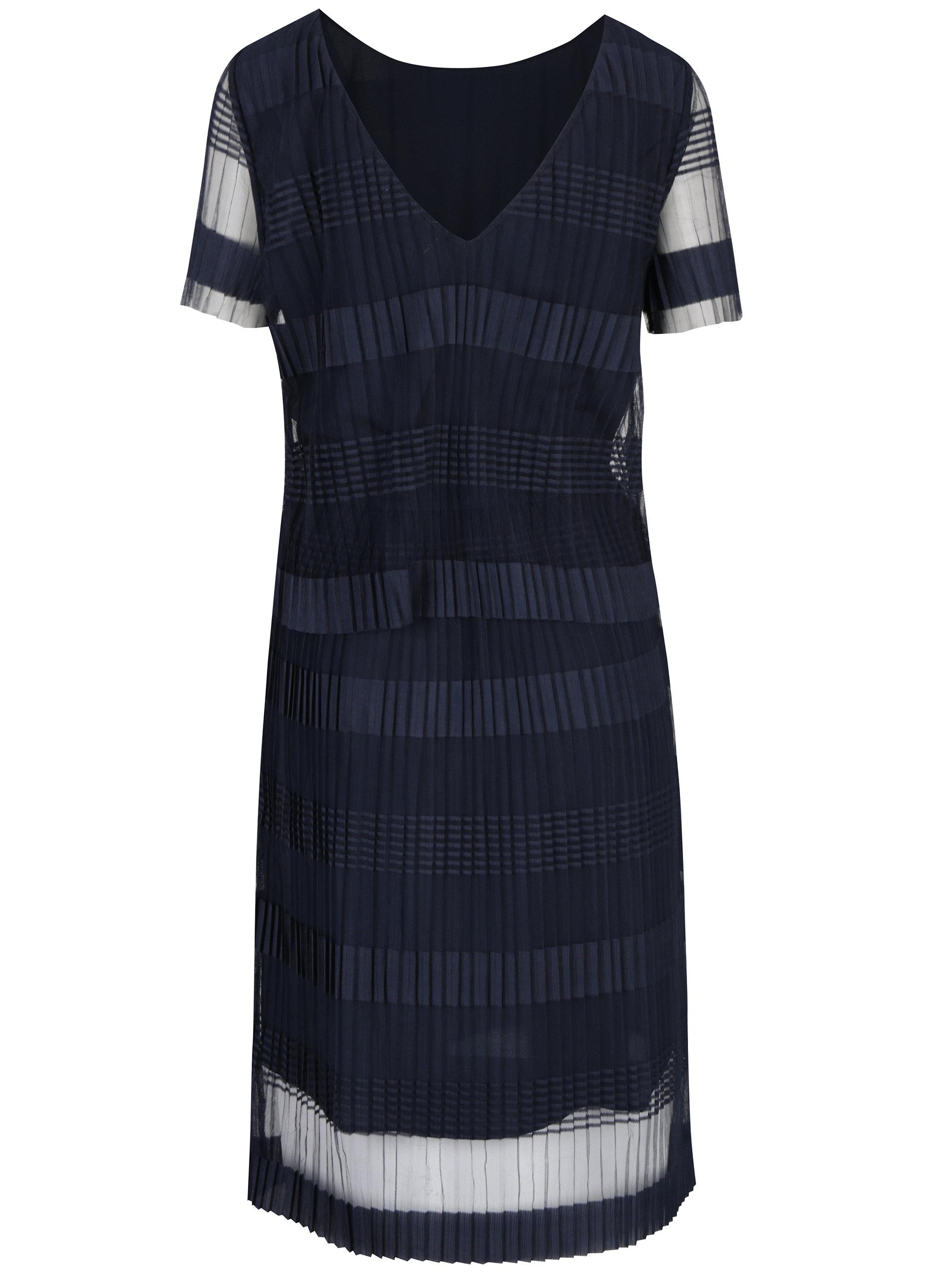cb21844de91e Tmavomodré plisované šaty s výstrihom na chrbte Selected Femme Lilja ...